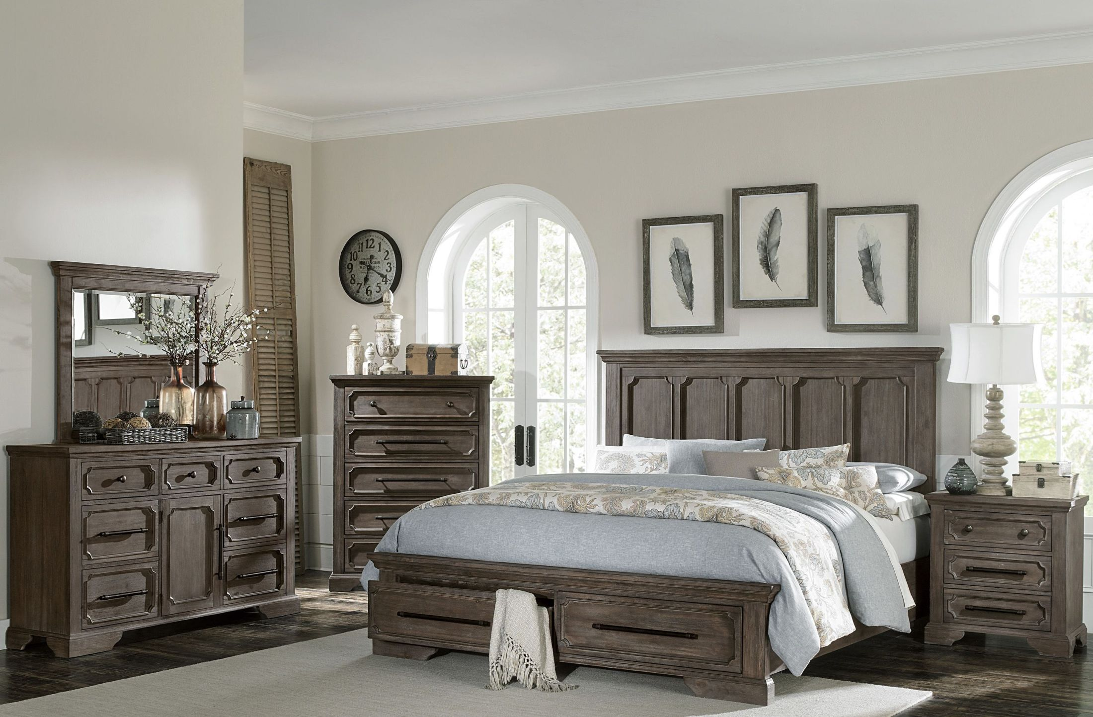 homelegance toulon unique rustic storage bedroom set. Black Bedroom Furniture Sets. Home Design Ideas