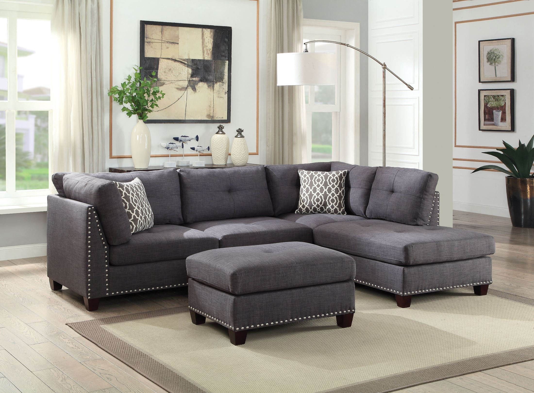 Acme Laurissa Light Charcoal Linen Sectional Sofa With