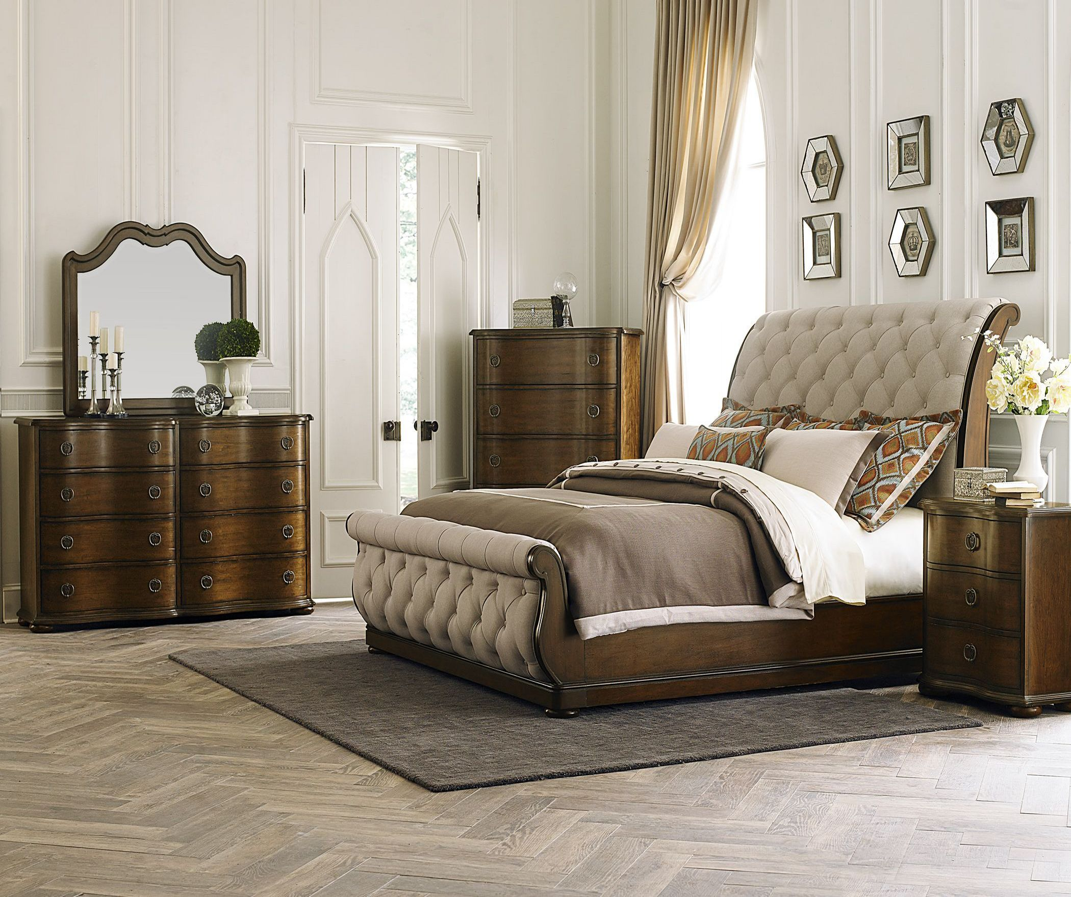 Cotswold upholstered sleigh bedroom set 1stopbedrooms - Bedroom furniture sets buy now pay later ...