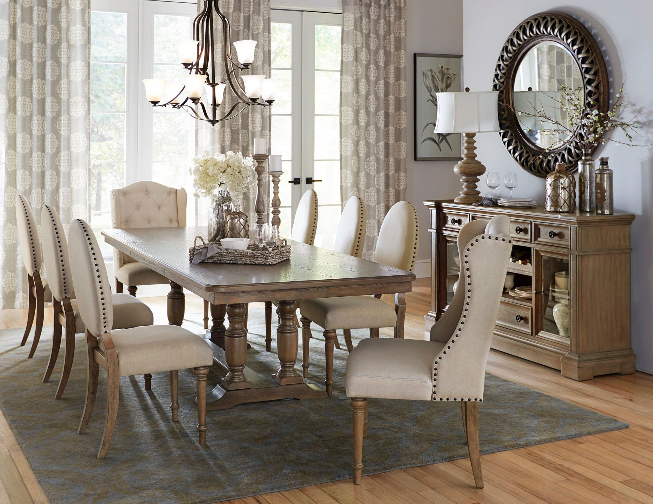 Avignon Natural Taupe Extendable Double Trestle Dining Room Setmedia Image