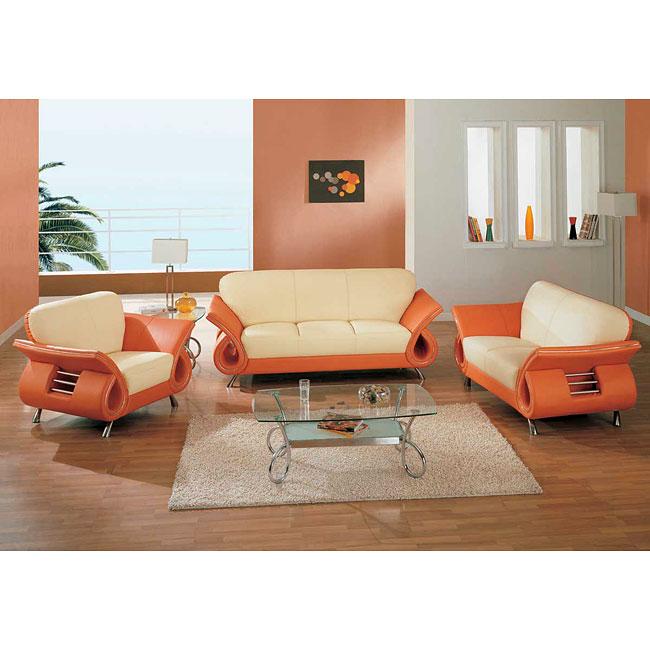 559 Beige/ Orange Modern Living Room Set - 1StopBedrooms.