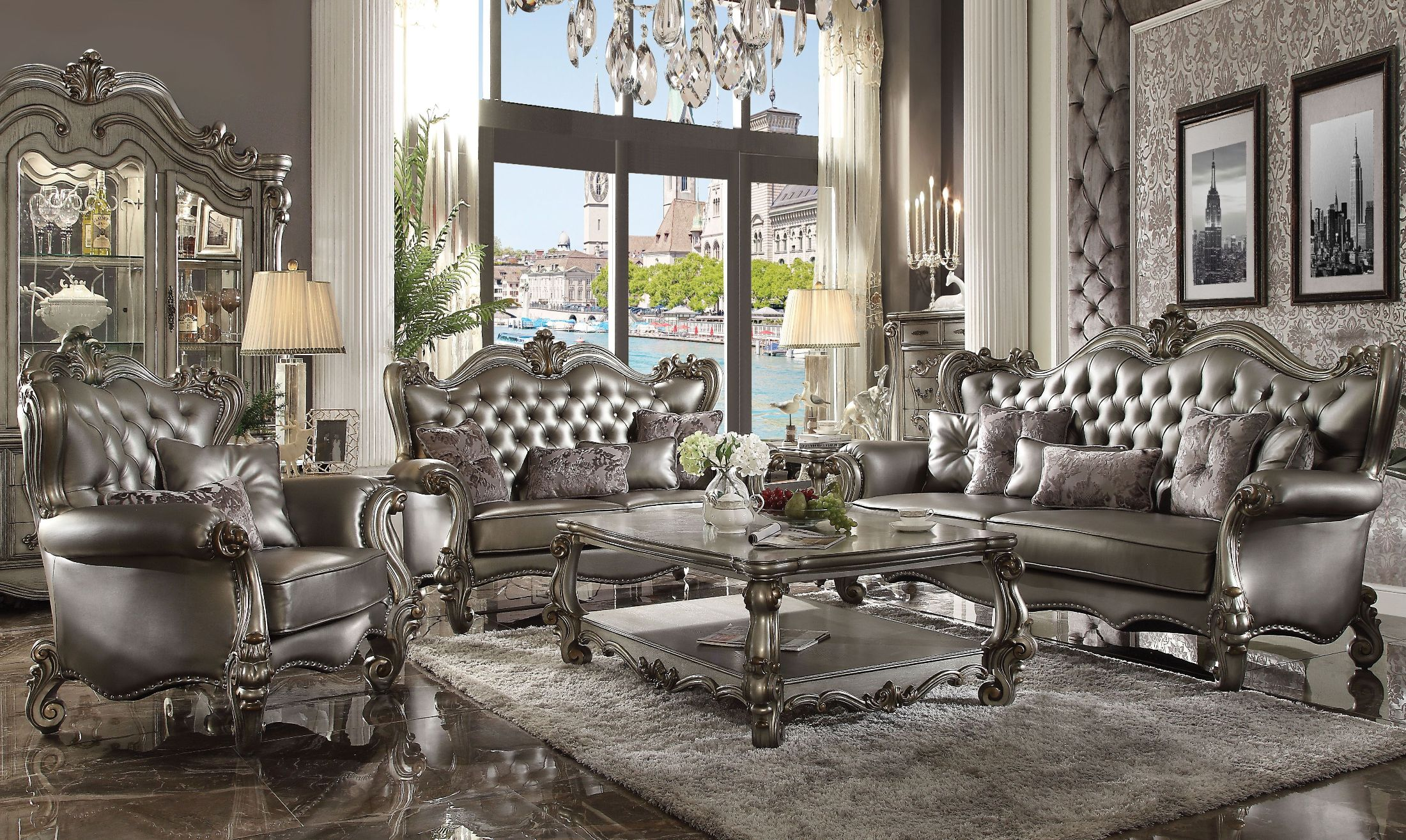 Pleasant Versailles Silver Antique Platinum Living Room Set Home Interior And Landscaping Ponolsignezvosmurscom