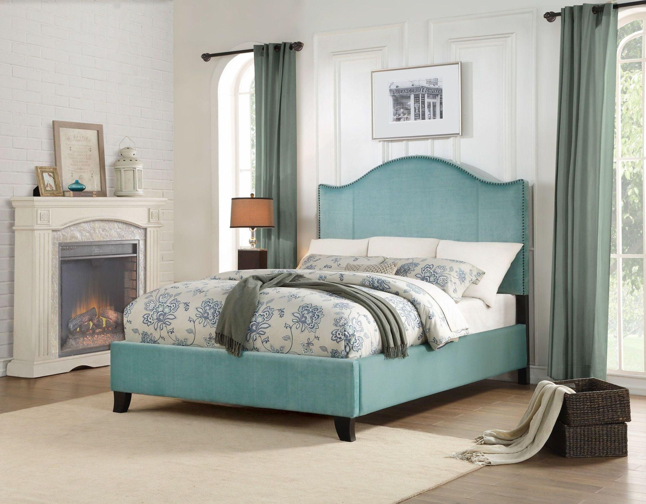 Homelegance Carlow Green Full Upholstered Platform Bed ...