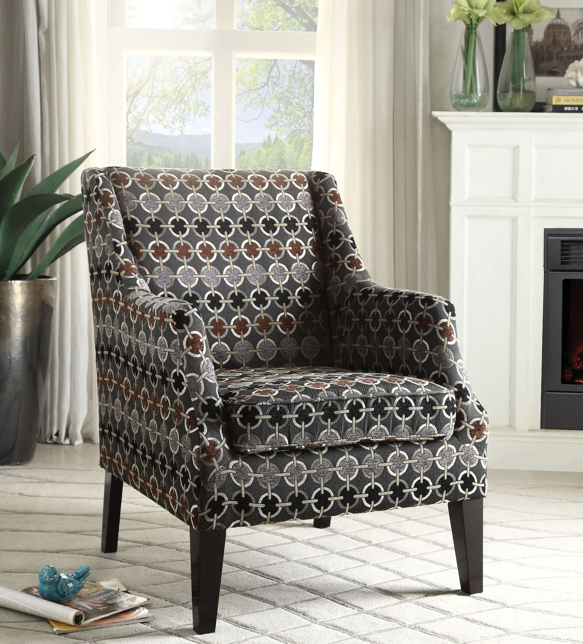 Acme Zarate Gray Pattern Accent Chair Zarate Collection