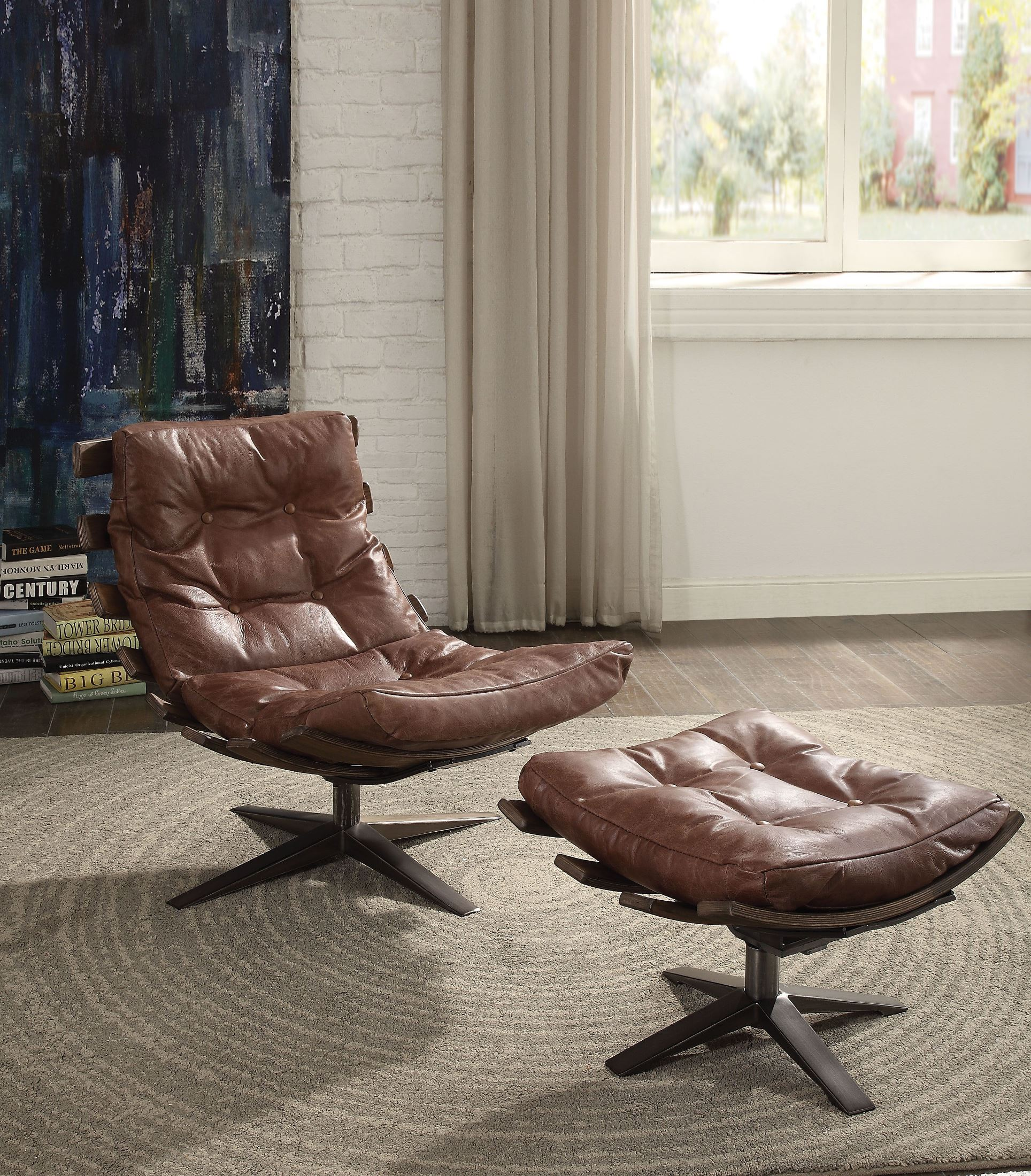 Cool Gandy Retro Brown Leather Chair With Ottoman Dailytribune Chair Design For Home Dailytribuneorg