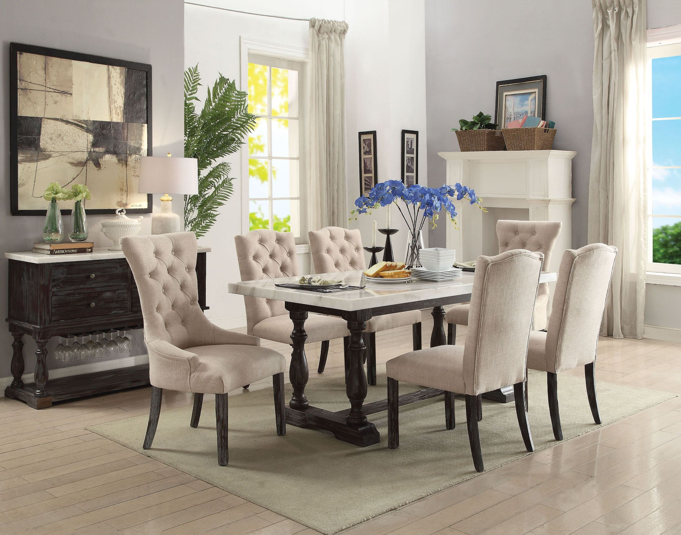 espresso dining room sets | ACME Gerardo White Marble and Weathered Espresso Dining ...