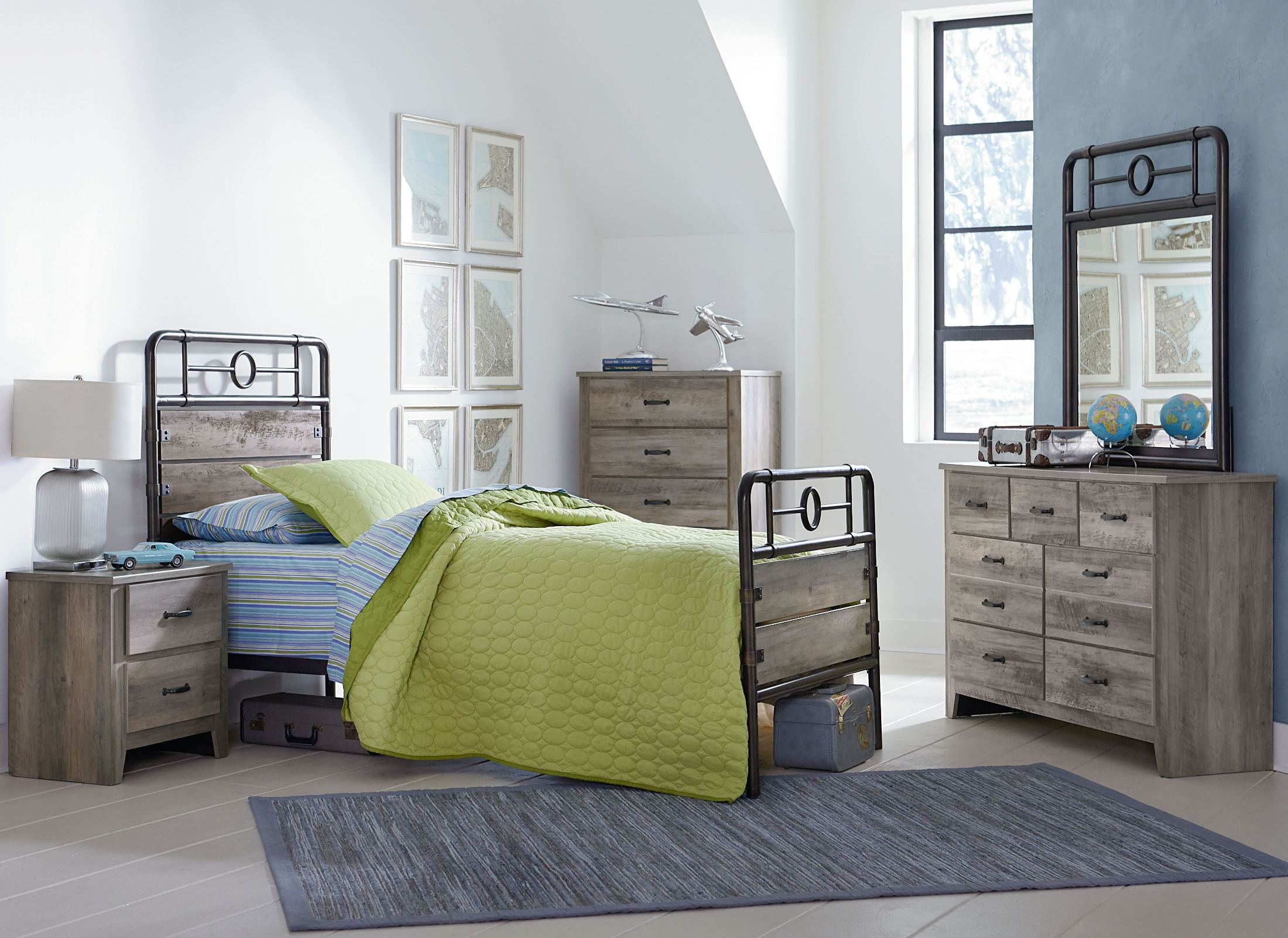 Standard furniture barnett distressed pine youth metal - Distressed bedroom furniture sets ...