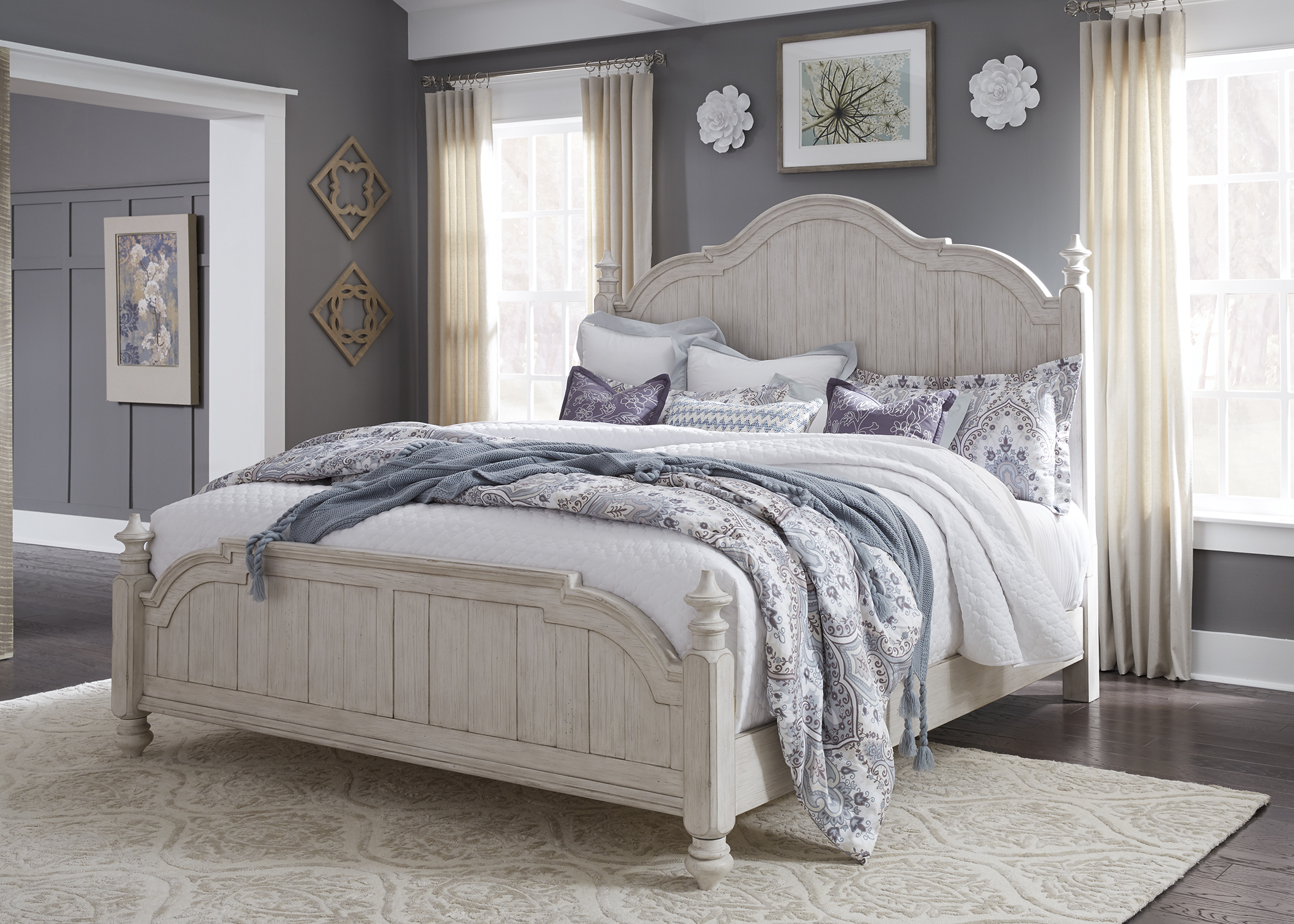 Liberty Farmhouse Reimagined Antique White King Poster Bed ...