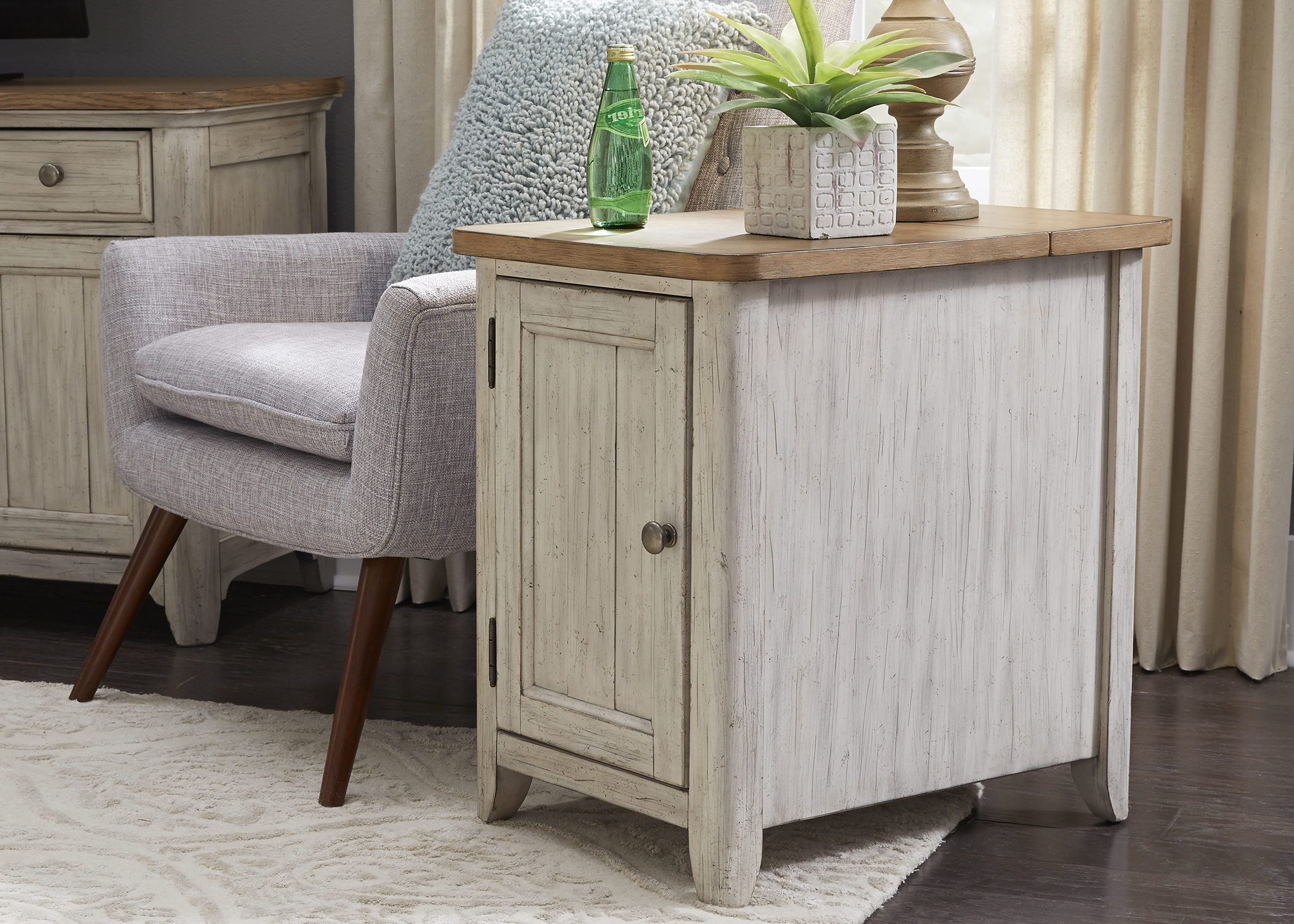 Liberty Farmhouse Reimagined Antique White Door Chair Side Table