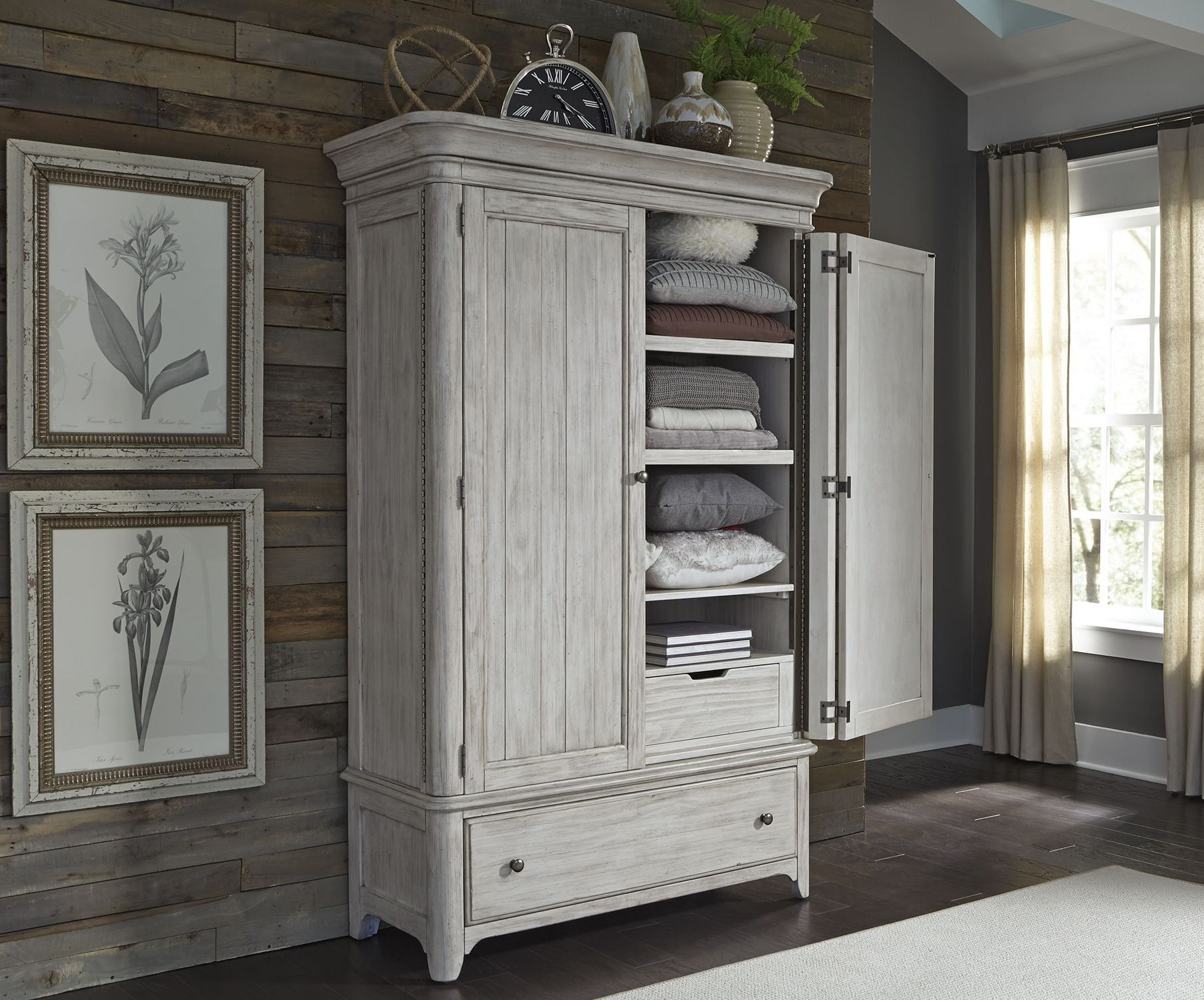 Liberty Farmhouse Reimagined Antique White Armoire