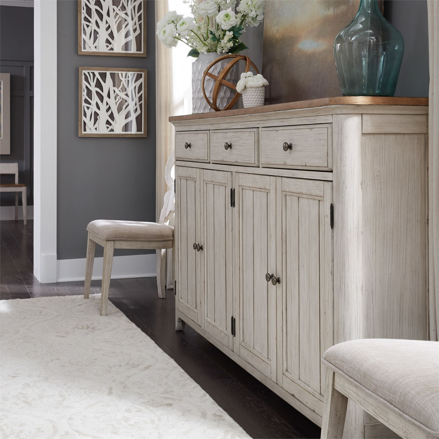 Liberty Farmhouse Reimagined Antique White Hall Buffet
