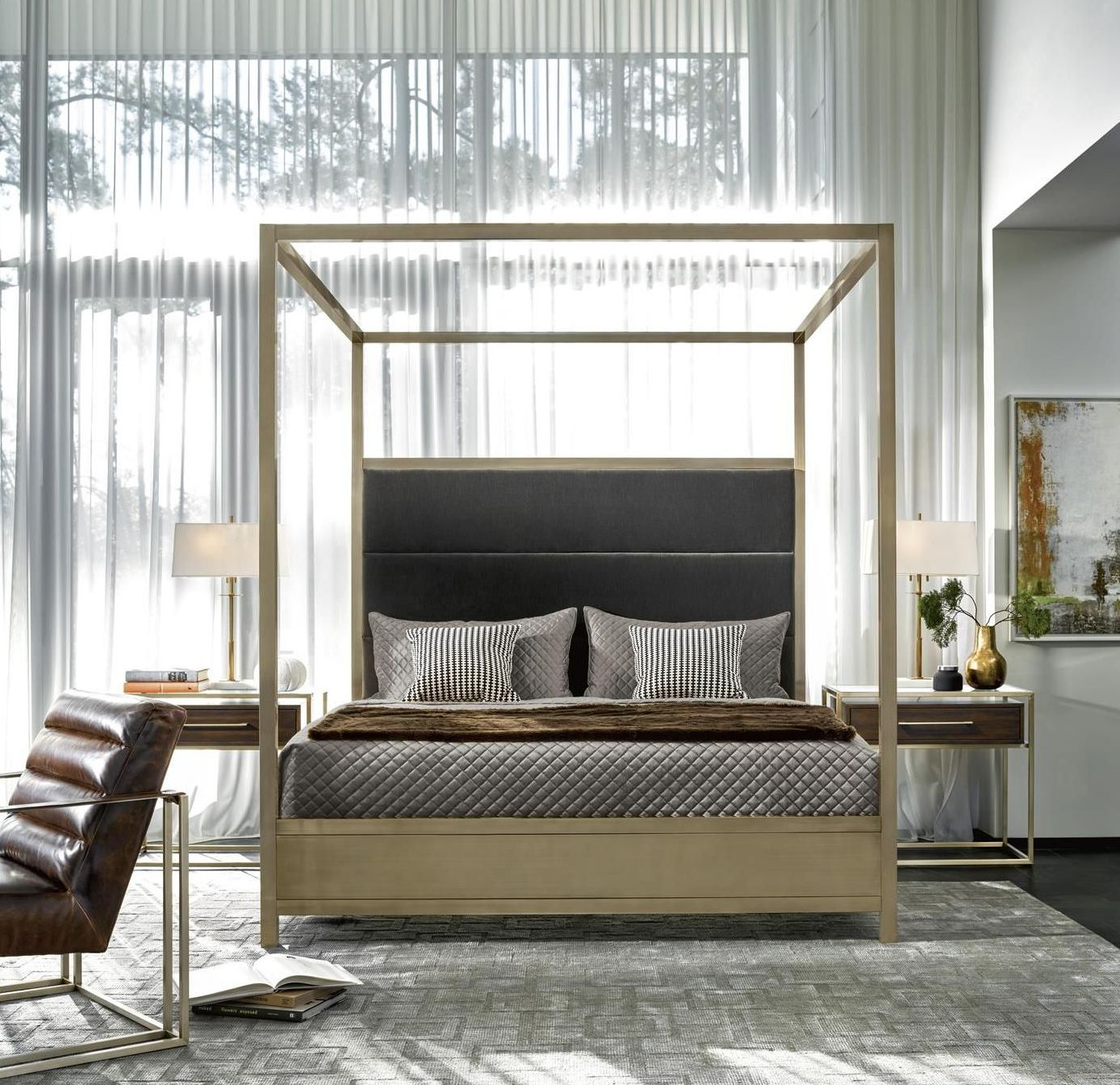 Modern Harlow Gold And Gray King Poster Bedroom Set