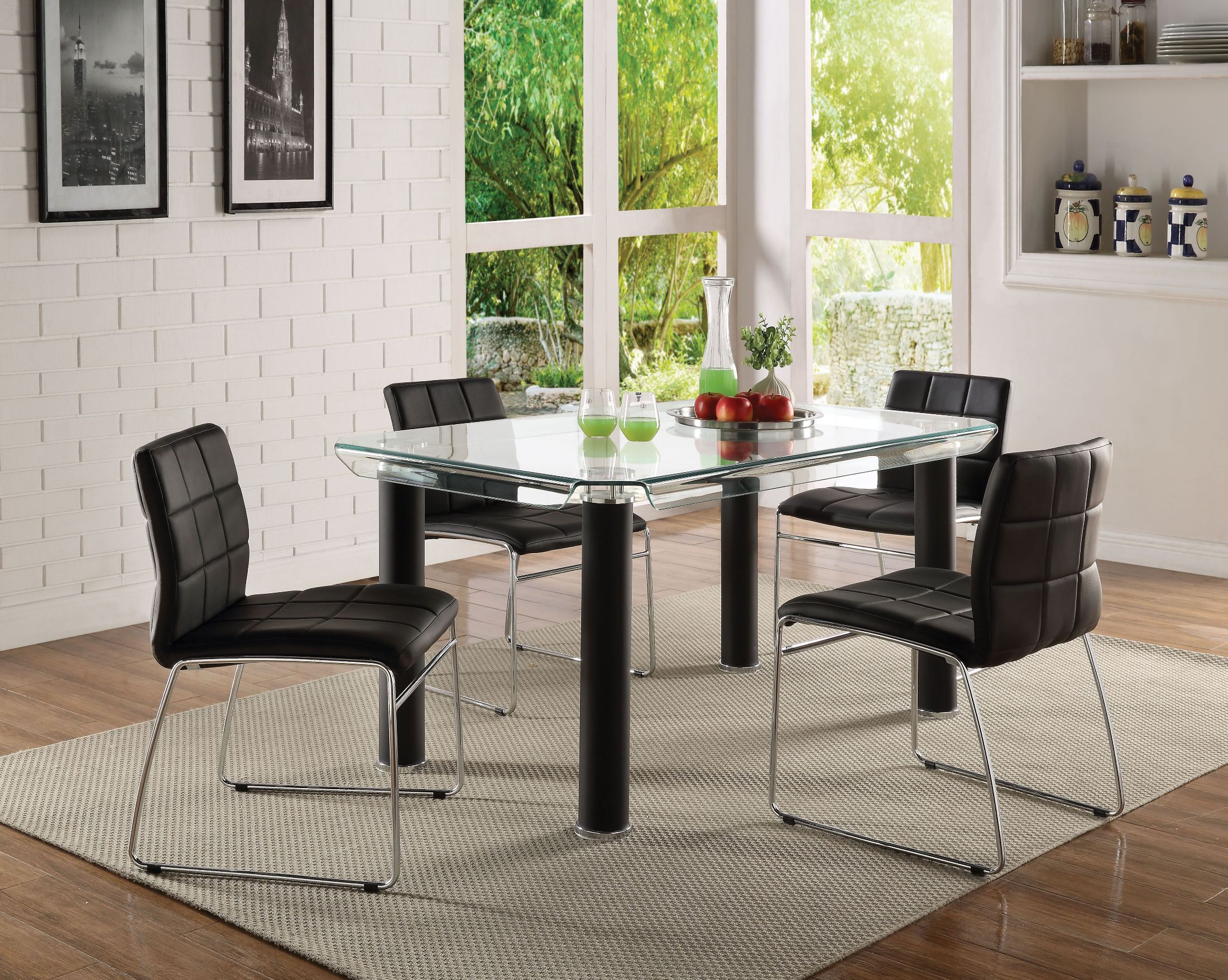 Gordie Black and Clear Glass Dining Room Set
