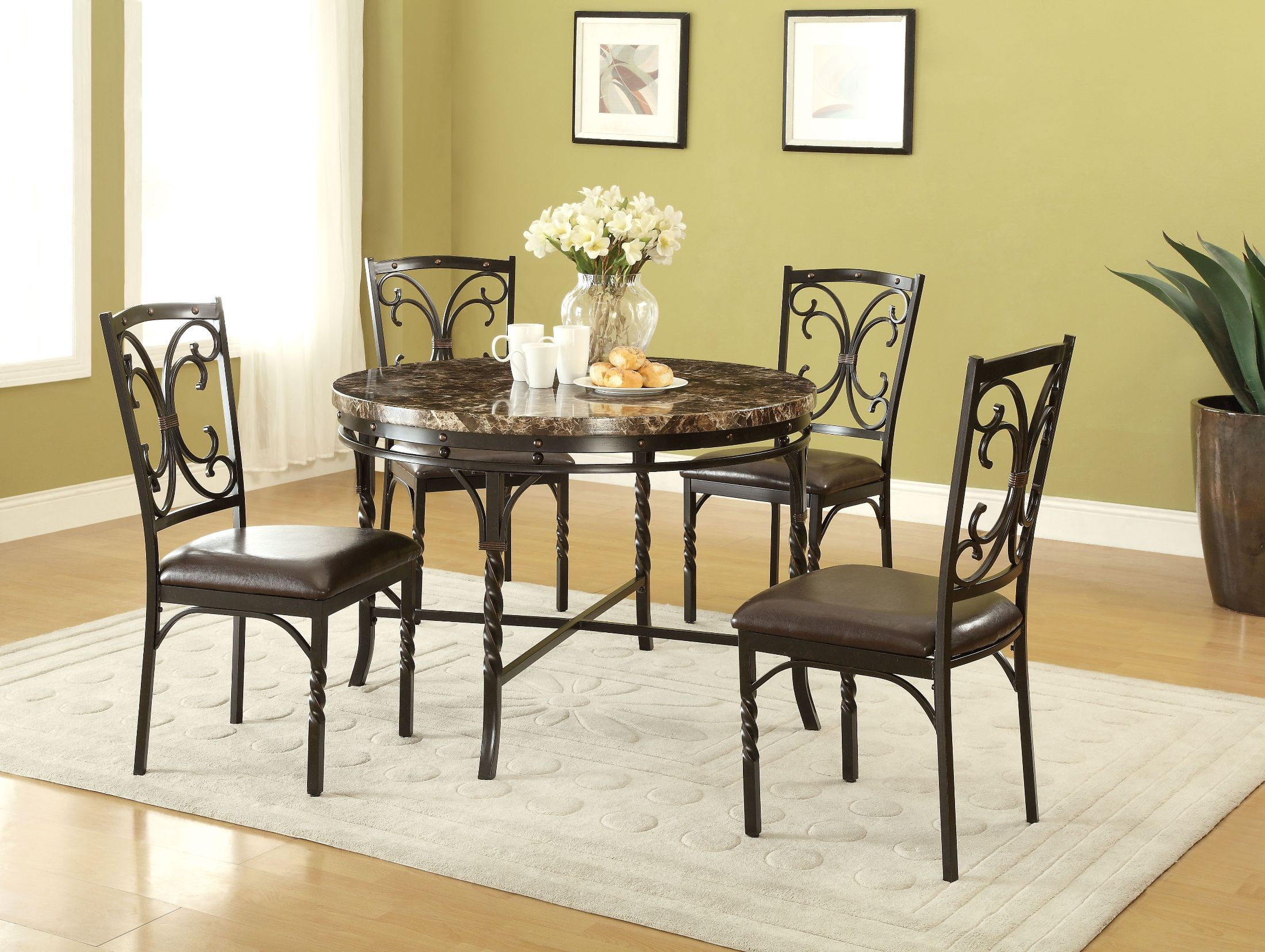 Acme Burril Faux Marble Dining Room Set Burril