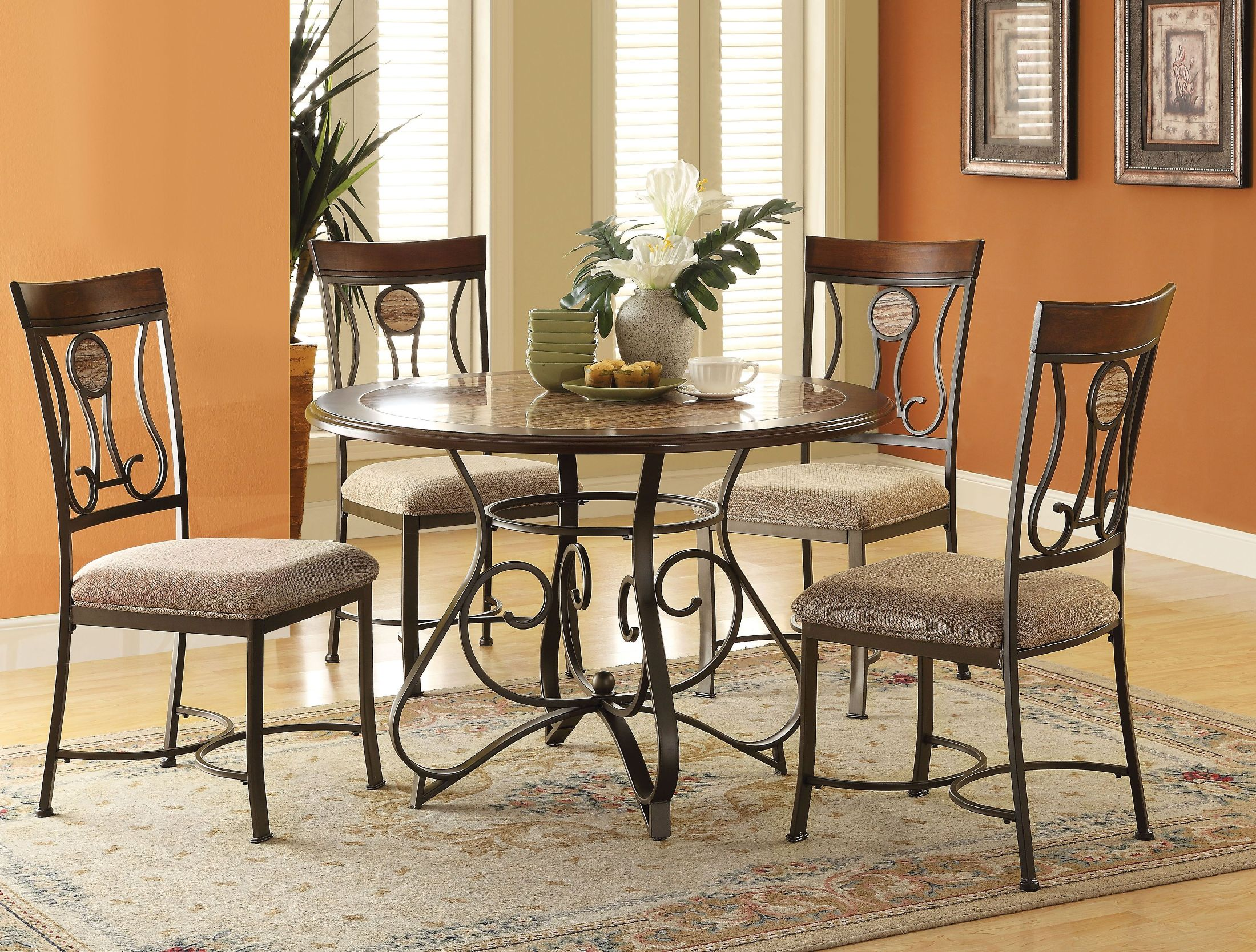Barrie Faux Marble Round Dining Room Set 1stopbedrooms