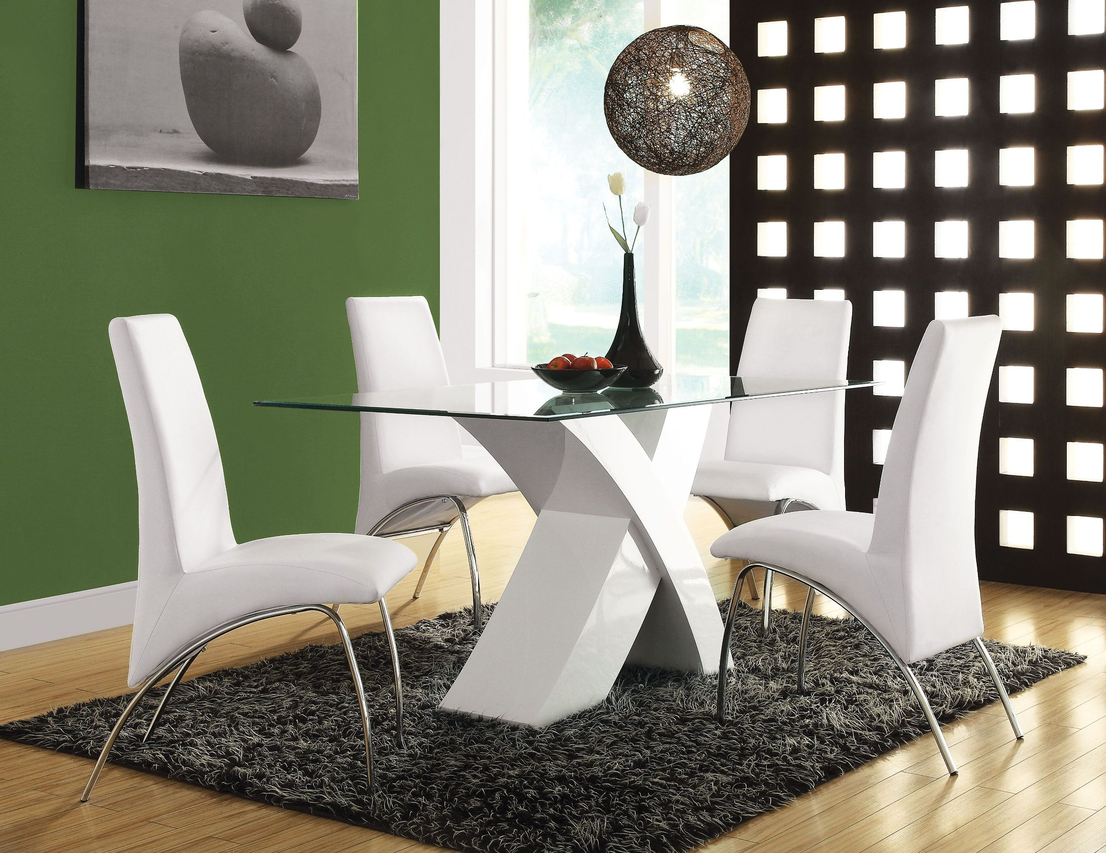 Pervis White and Clear Glass Dining Room Set