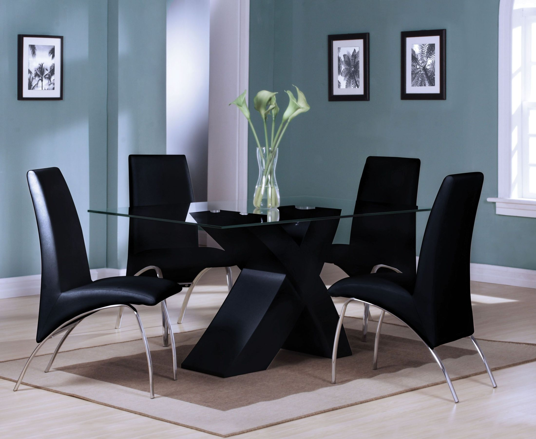 Pervis Black and Clear Glass Dining Room Set