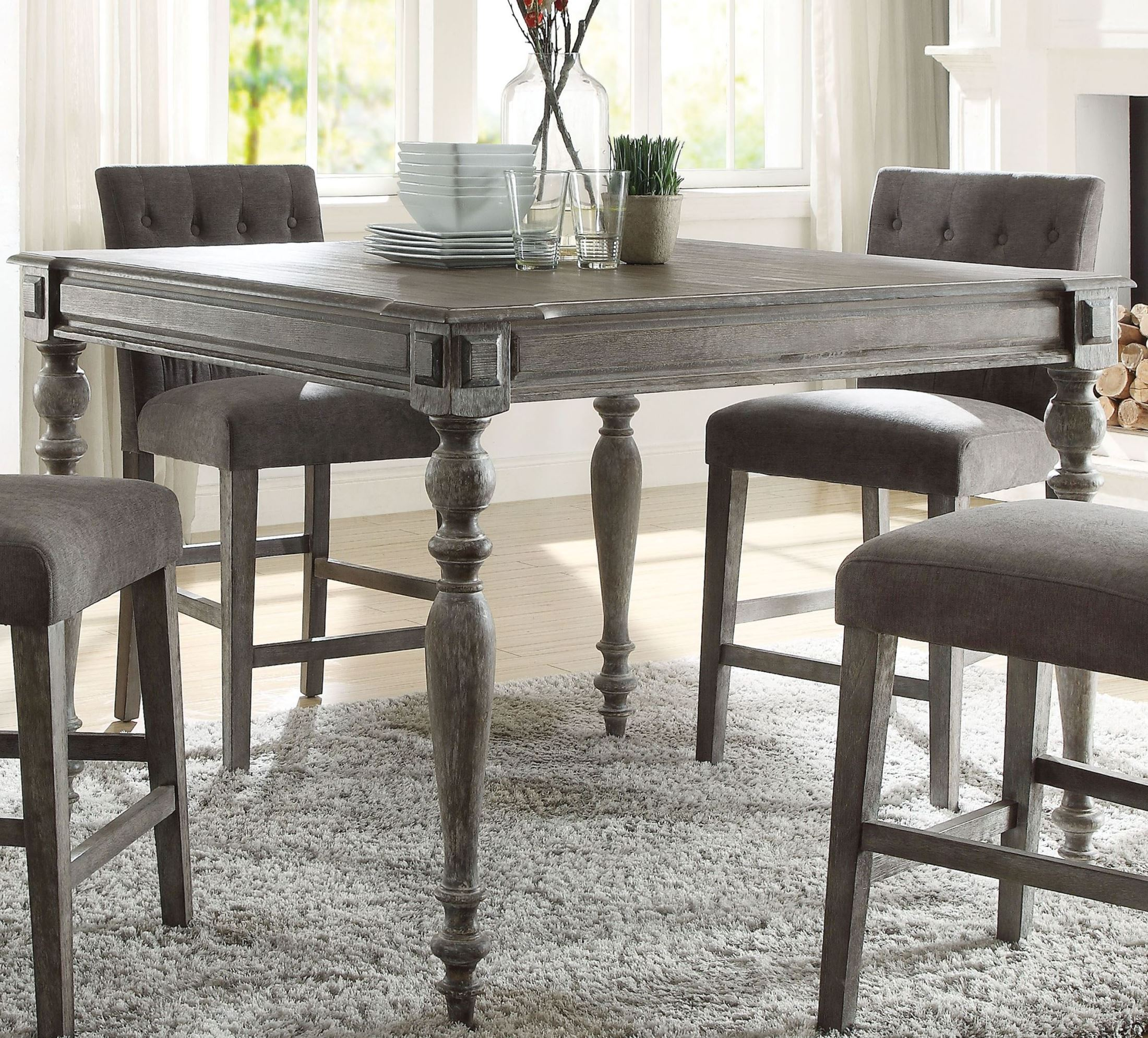 ACME Godeleine Weathered Gray Oak Counter Height Dining