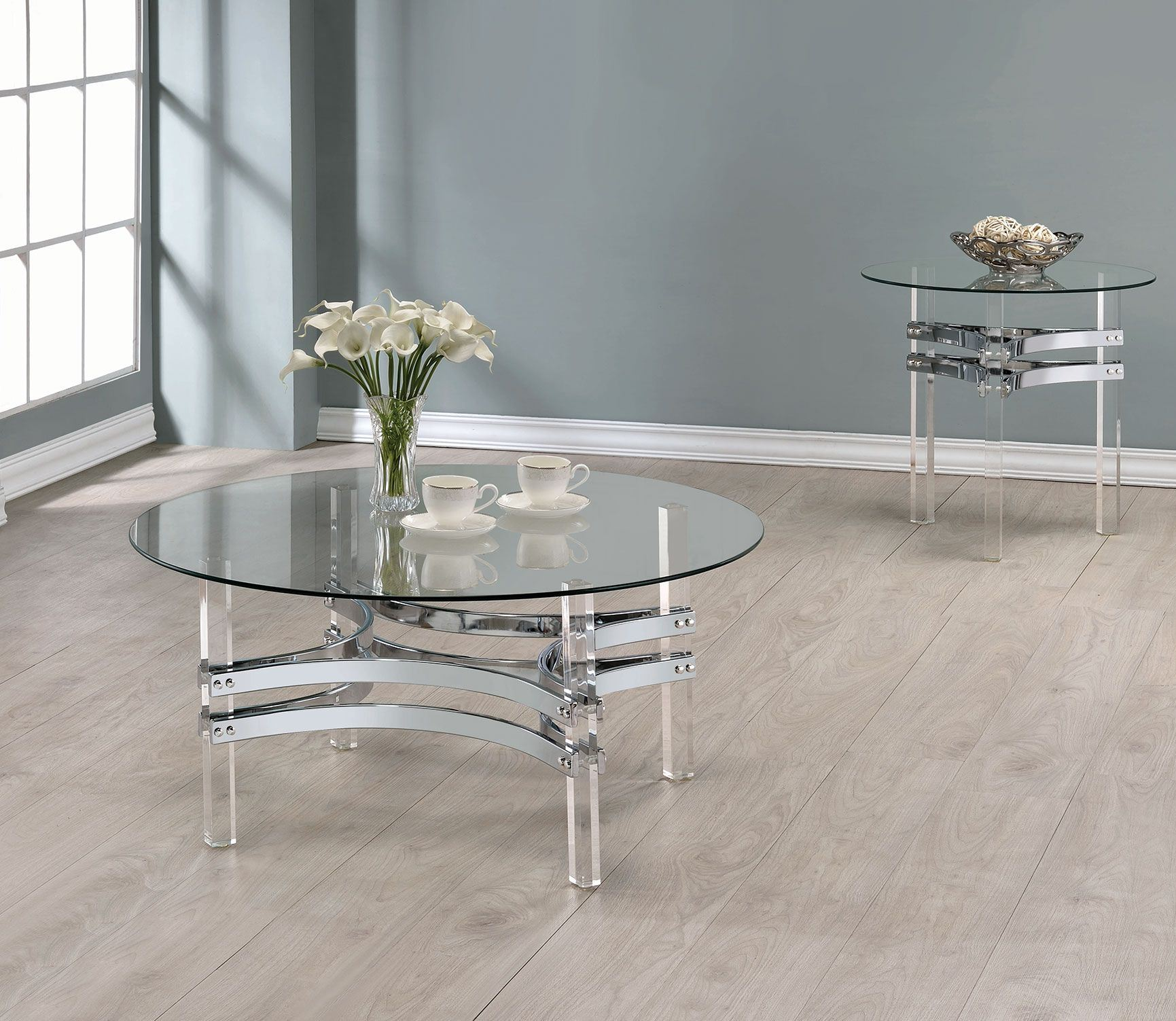 Coaster Chrome And Clear Acrylic Round Occasional Table