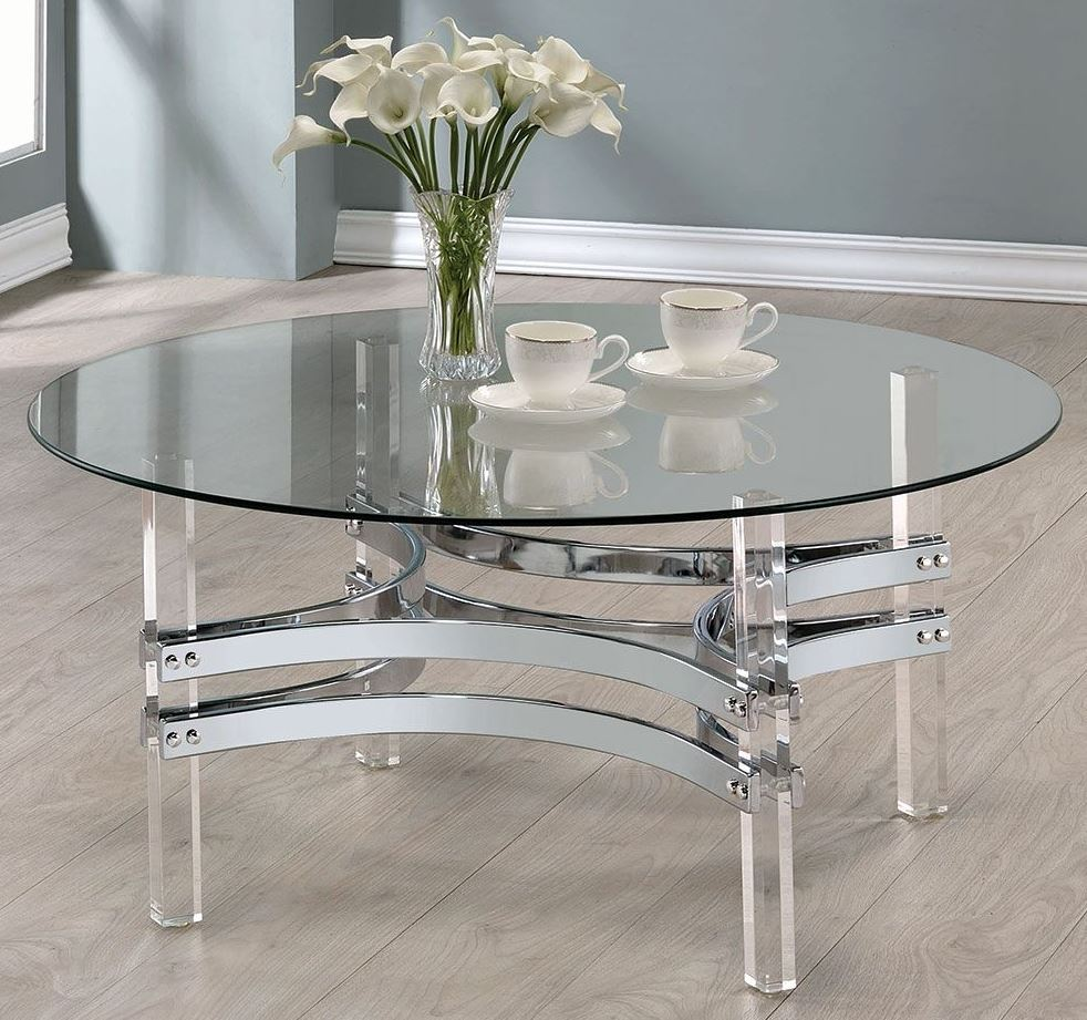 Coaster Chrome And Clear Acrylic Round Coffee Table