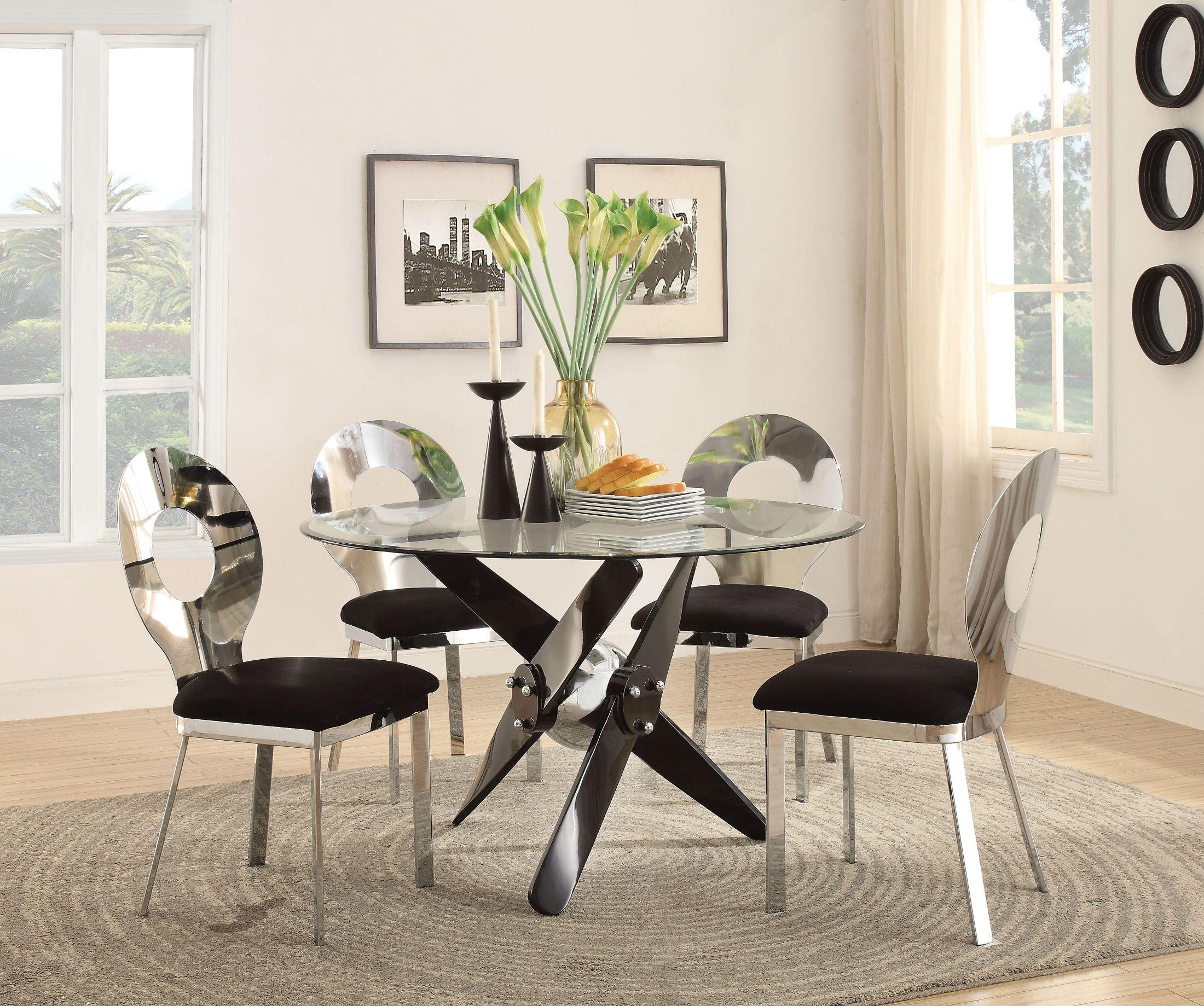 Black Round Dining Set: ACME Hagelin Black Round Dining Room Set