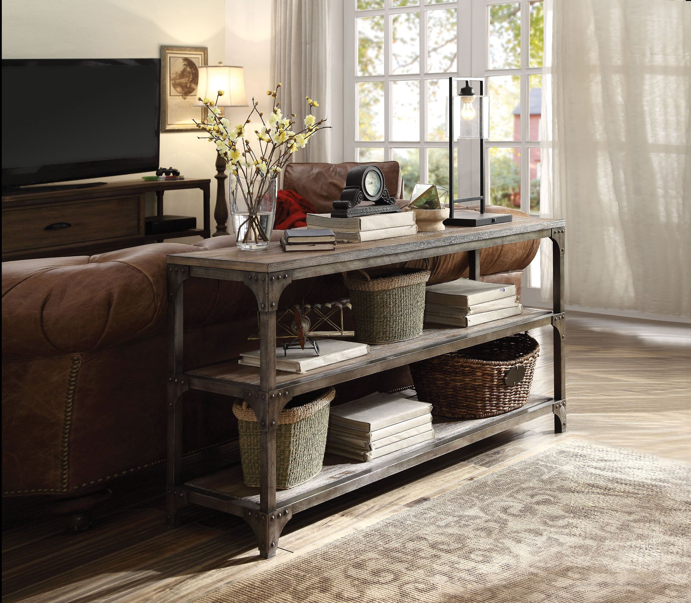 Picture of: Gorden Weathered Oak 60 Console Table 1stopbedrooms