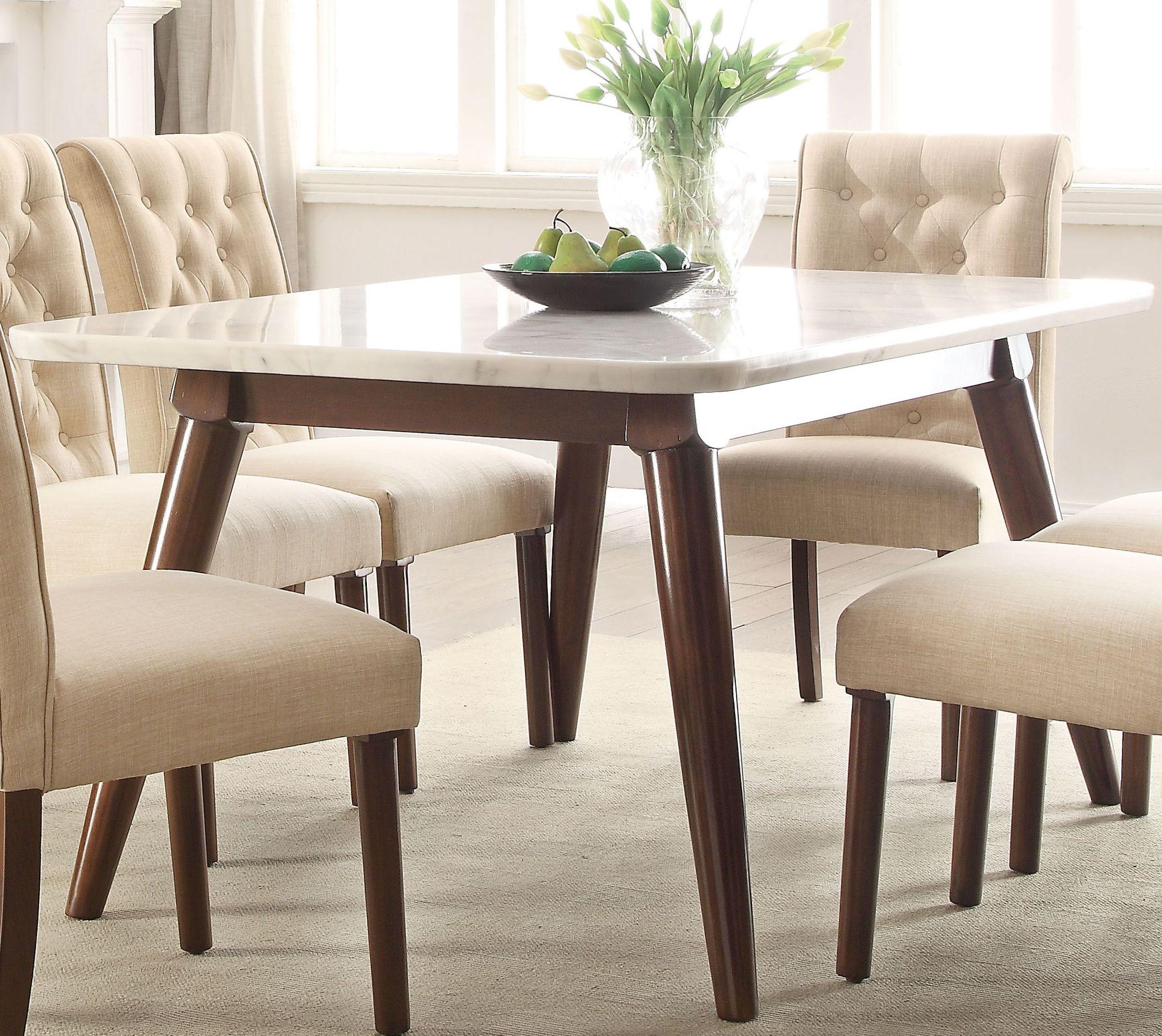 Gasha white marble and walnut dining tablemedia image