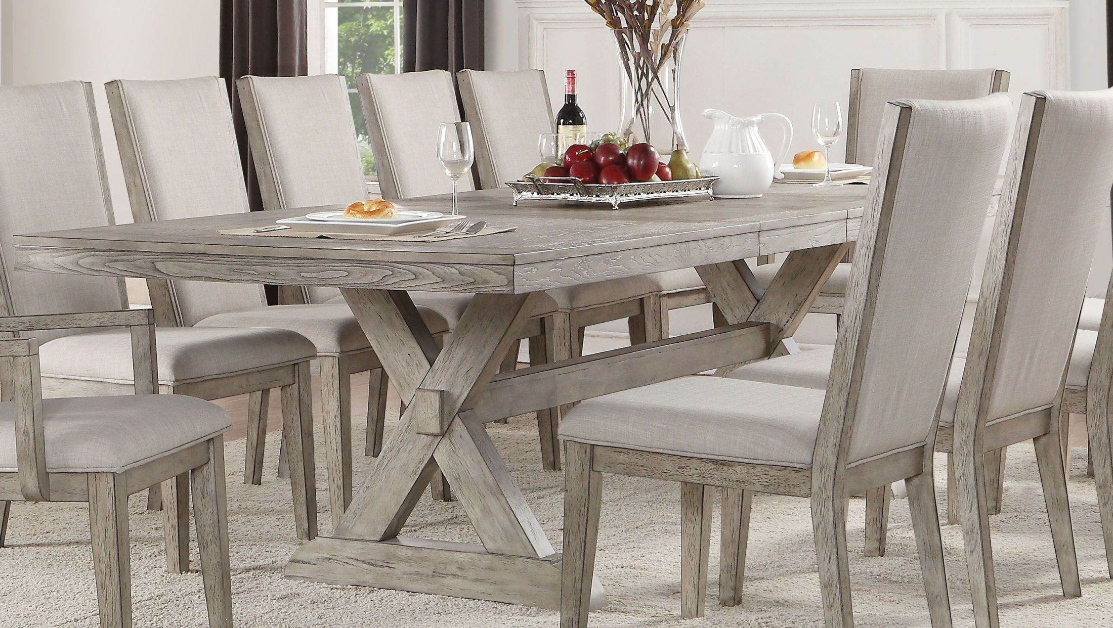 Rocky Gray Oak Extendable Dining Table