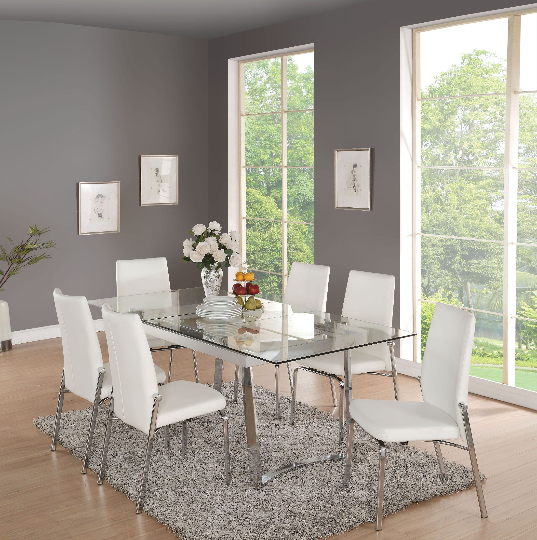 Glass Dining Room: ACME Osias Chrome And Clear Glass Dining Room Set