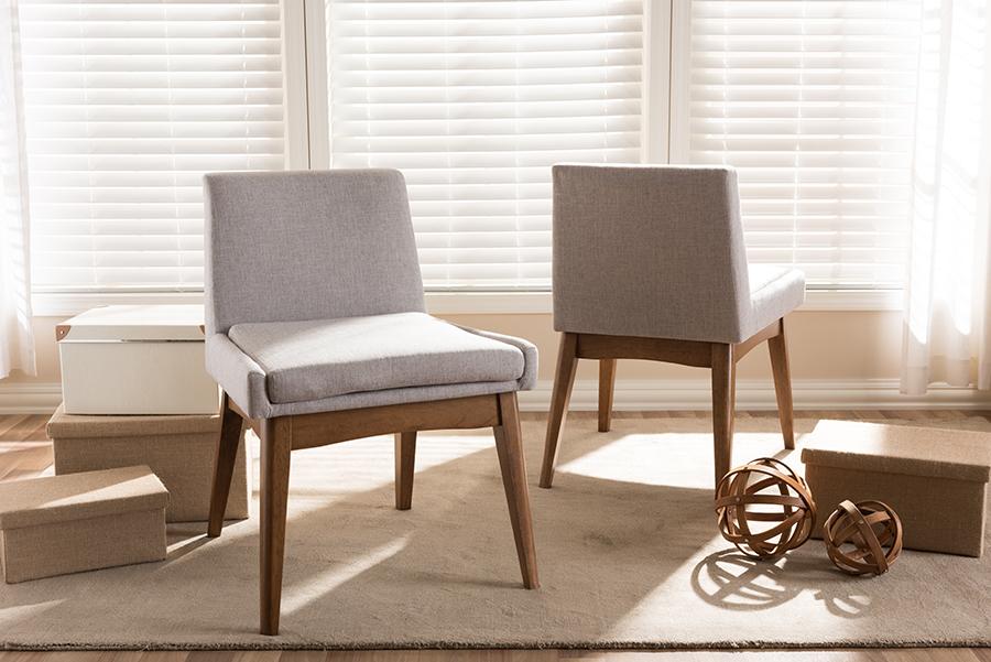 Baxton Studio Nexus Mid Century Modern Walnut Wood Finishing Greyish Beige Fabric Dining Side Chair Set Of 2 1stopbedrooms