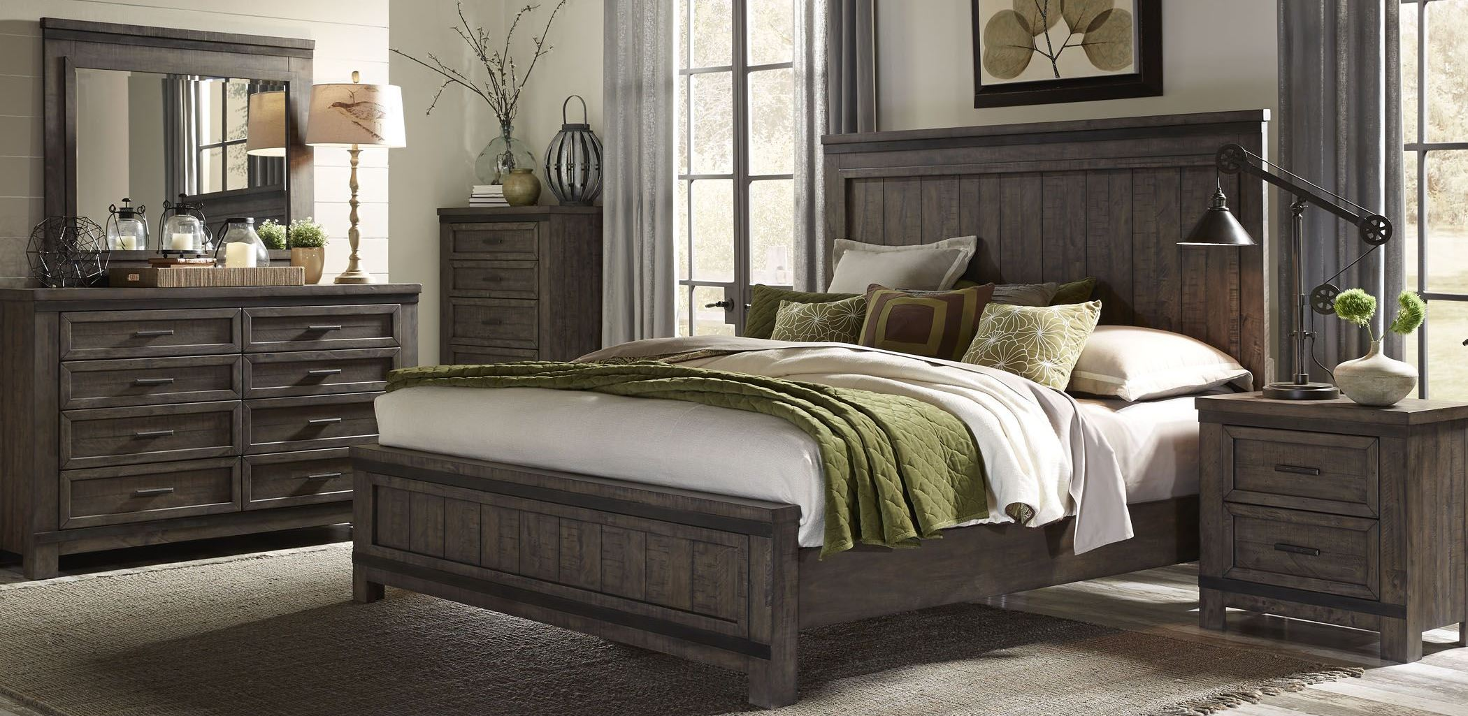 Thornwood Hills Rock Beaten Gray Panel Bedroom SetMedia Image