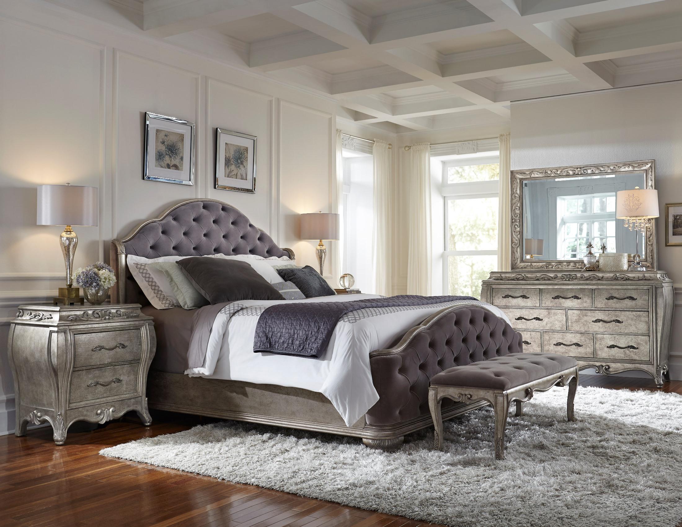 Rhianna Silver Patina Upholstered Panel Bedroom SetMedia Image