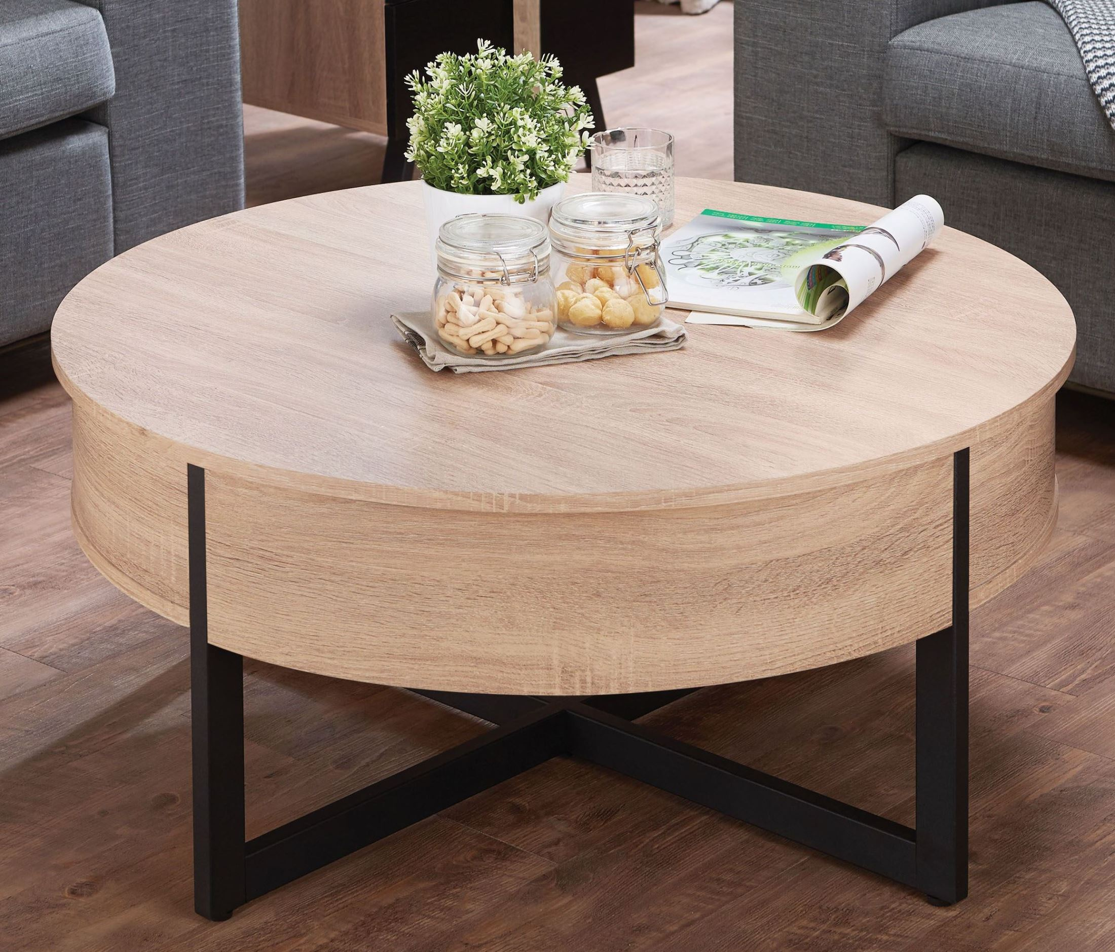 Rustic Coffee Table Black: ACME Nuria Rustic Natural And Black Coffee Table