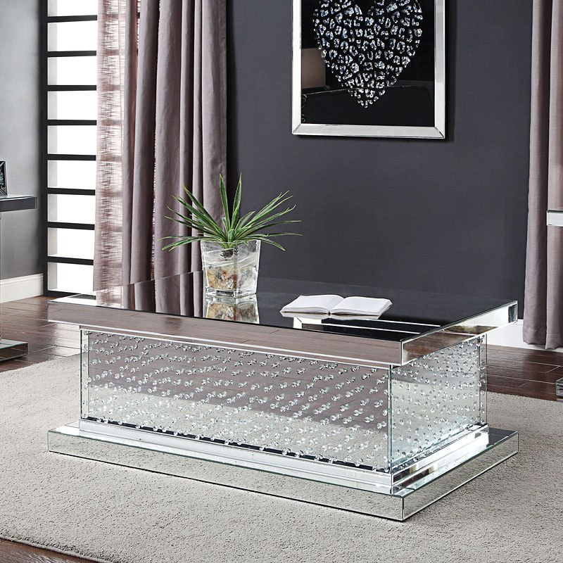ACME Nysa Mirrored Rectangular Coffee Table