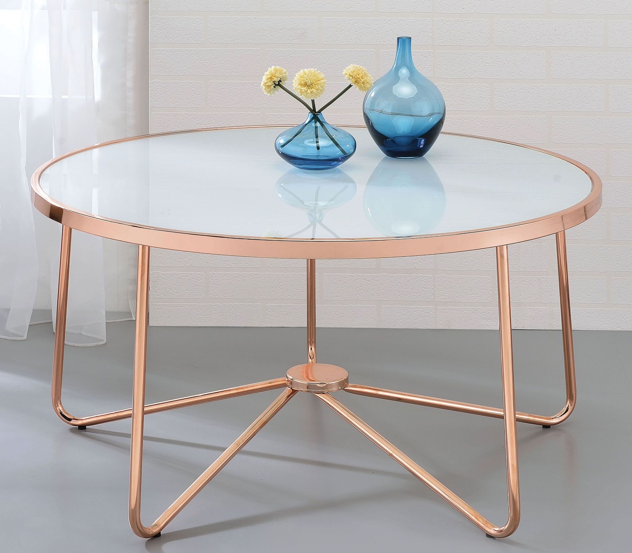 ACME Alivia Rose Gold And Frosted Glass Coffee Table