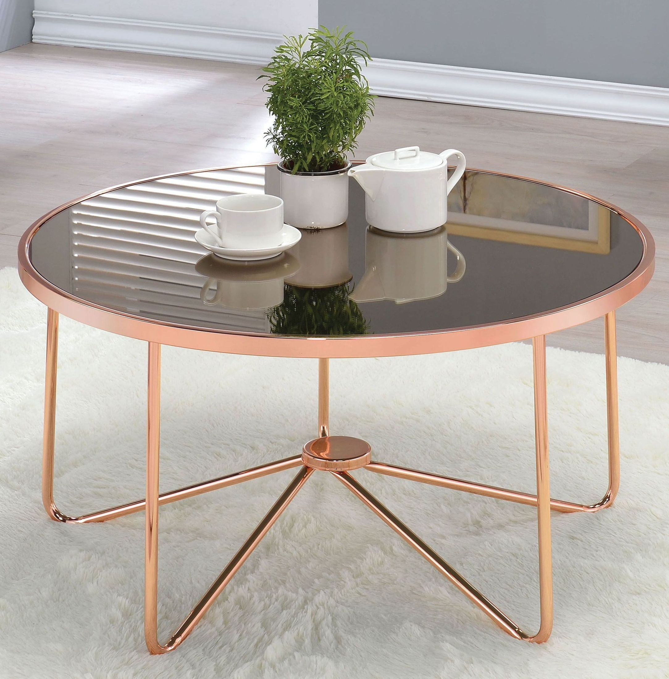 ACME Alivia Rose Gold And Smoky Glass Coffee Table