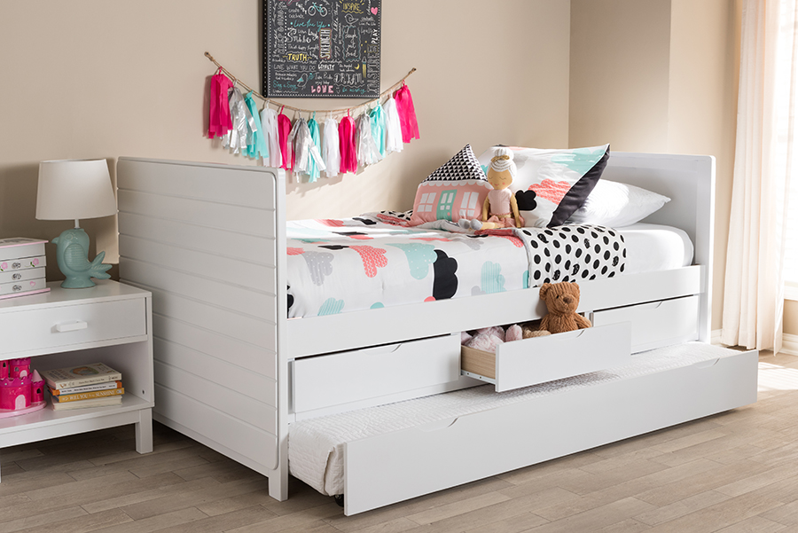 Baxton Studio Baxton Studio Linna Modern And Contemporary White-Finished Daybed With Trundle