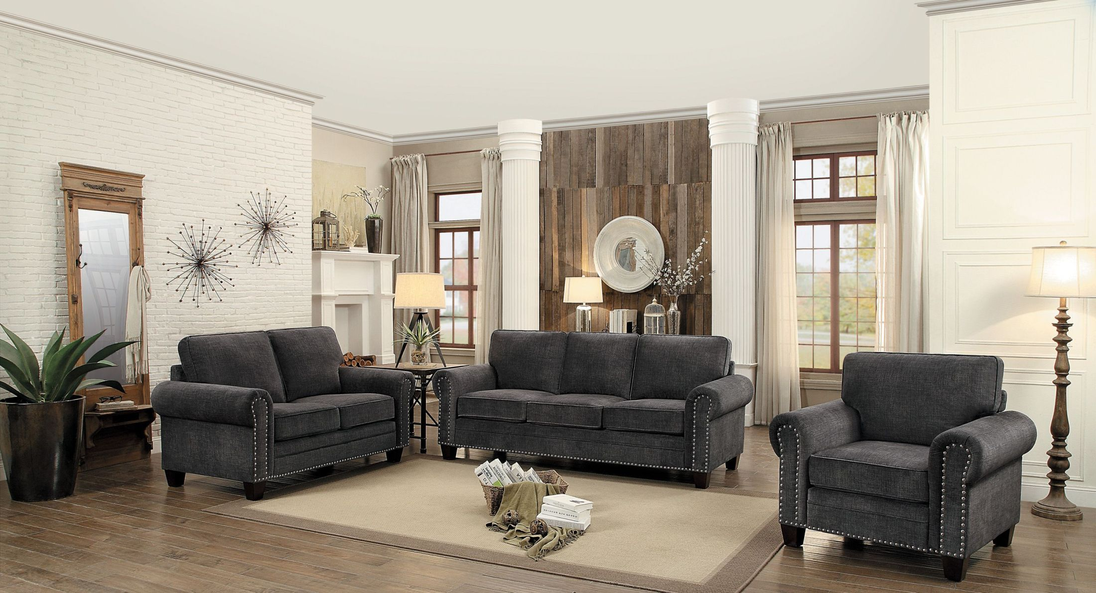 Cornelia Dark Grey Living Room Set
