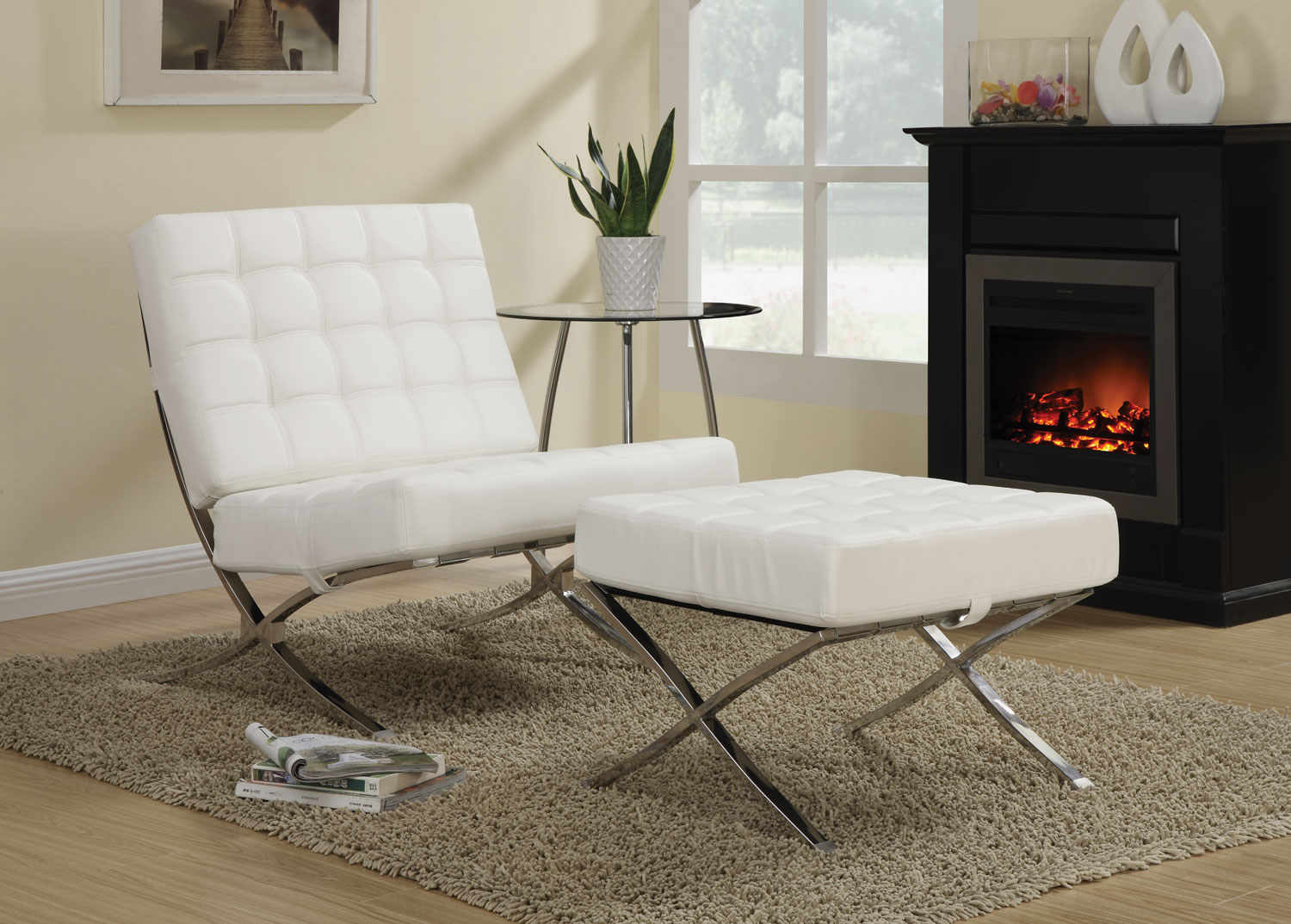 902183 White Chrome Accent Chair 1stopbedrooms