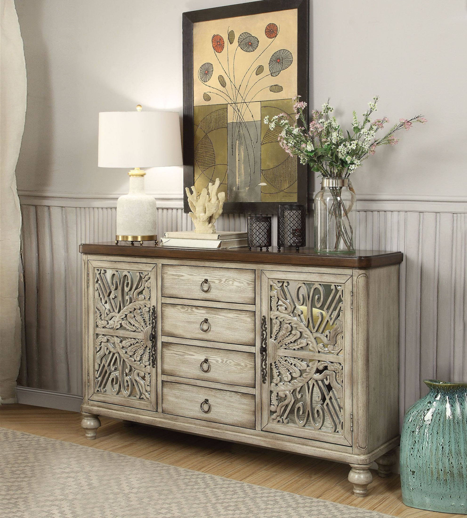 Acme Vermont Antique White 4 Drawer Console Table