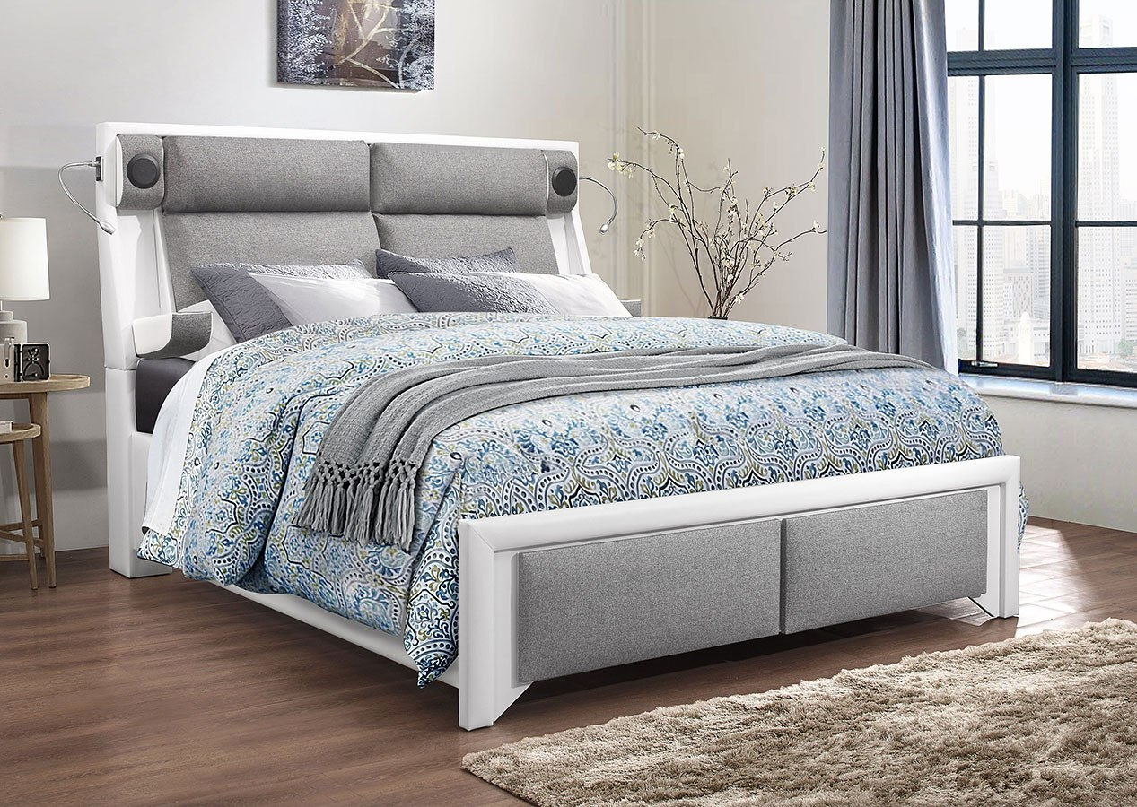 9652 upholstered bedroom set white and grey 1stopbedrooms - Bedroom furniture sets buy now pay later ...