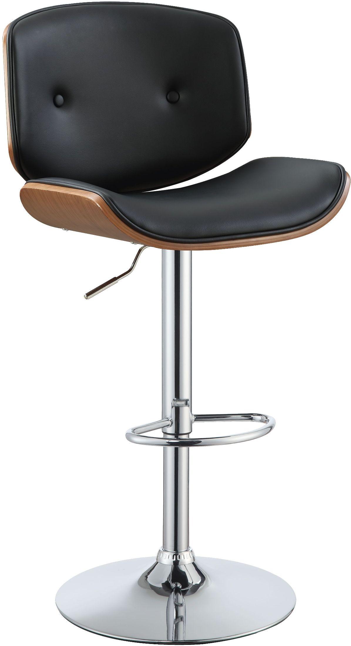 Acme Camila Black Upholstered Swivel Adjustable Stool