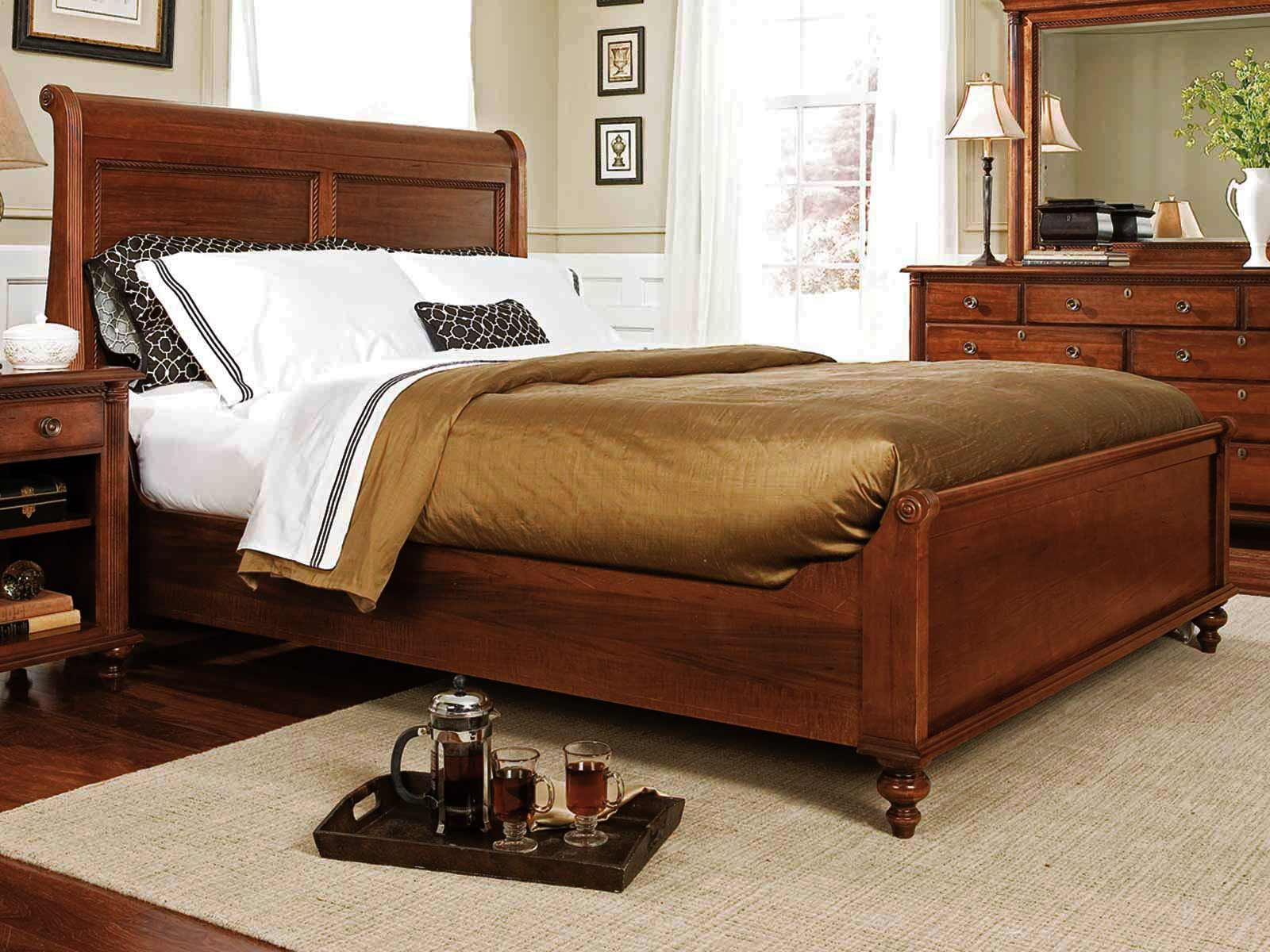 Durham furniture savile row king sleigh bed w low footboard in victorian mahogany 980