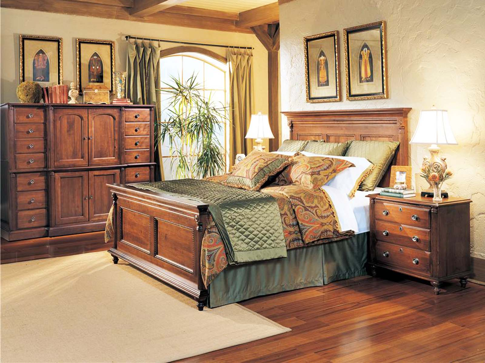Durham Furniture Savile Row Panel Bedroom Set In Victorian Mahogany