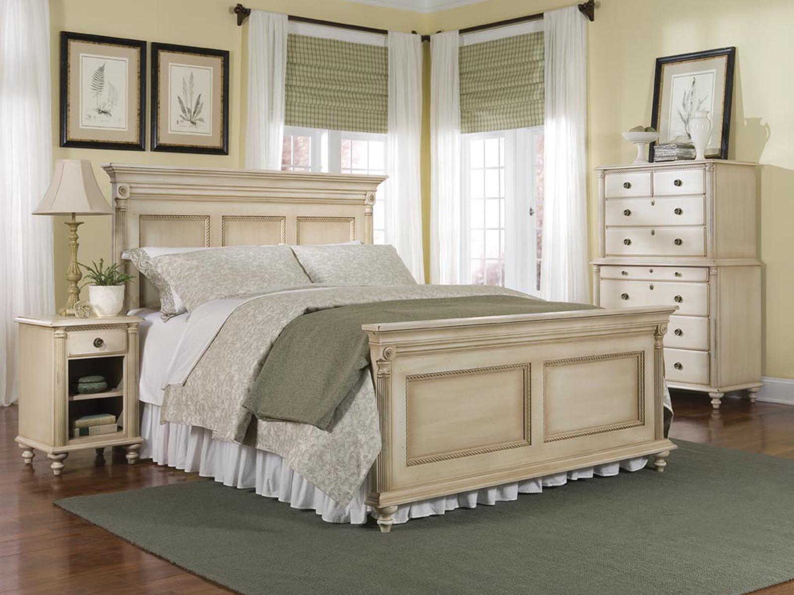 Durham Furniture Savile Row Panel Bedroom Set in Antique Cream