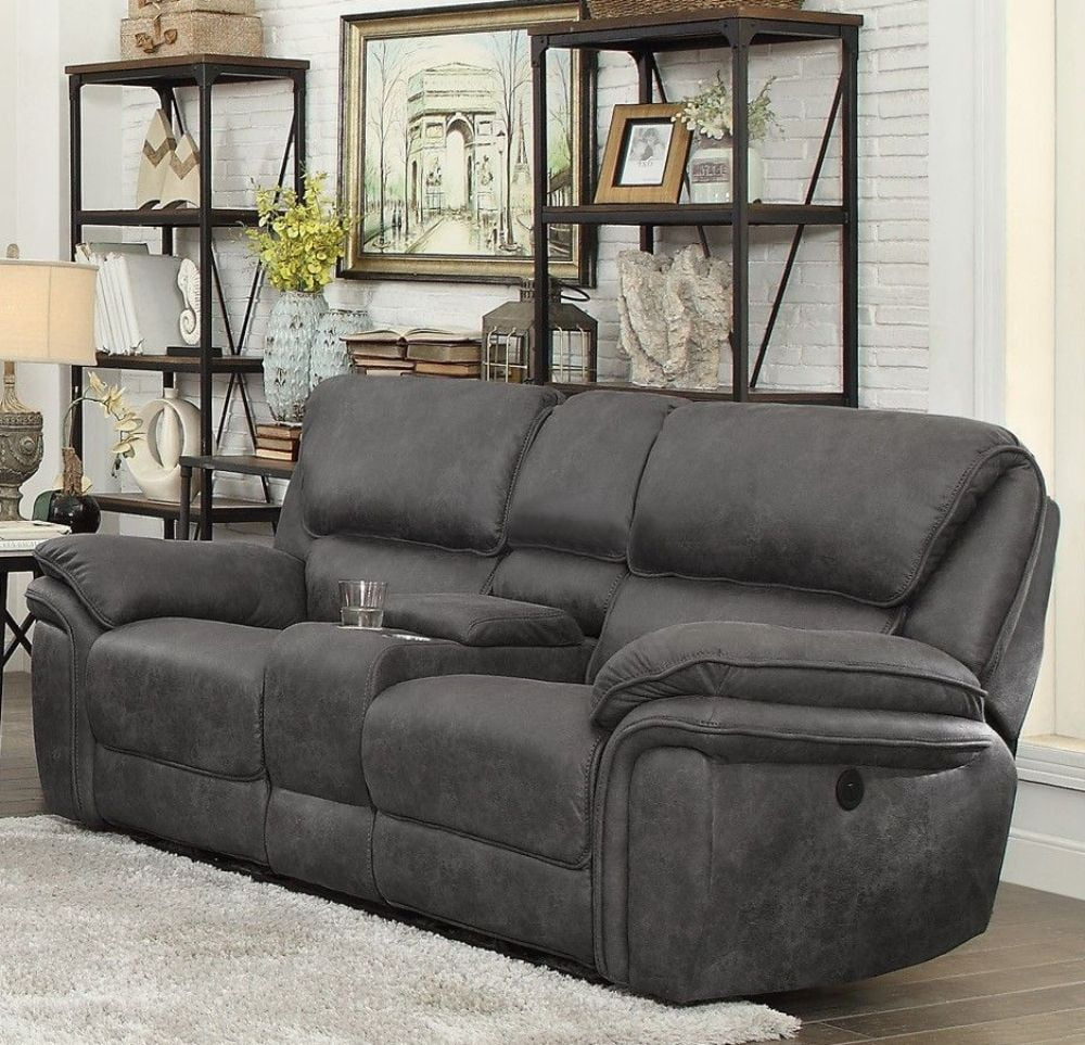 Homelegance Hadden Gray Double Reclining Loveseat With Center