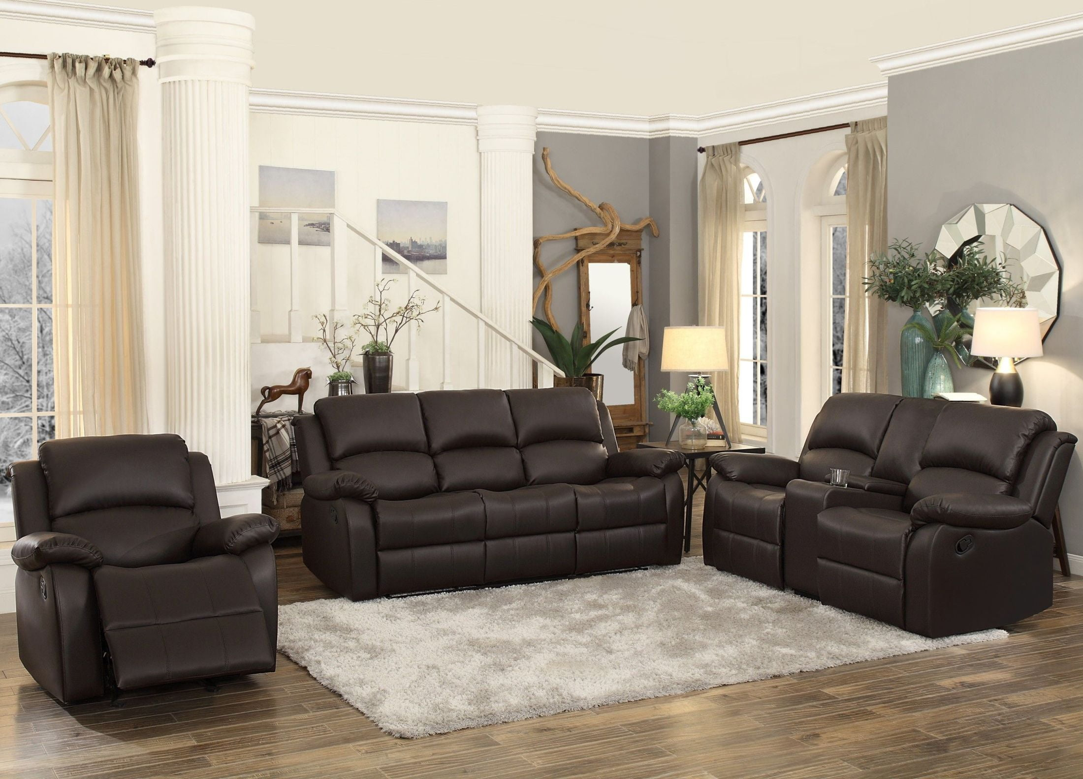 Terrific Clarkdale Dark Brown Double Reclining Living Room Set With Drop Down Table Gmtry Best Dining Table And Chair Ideas Images Gmtryco