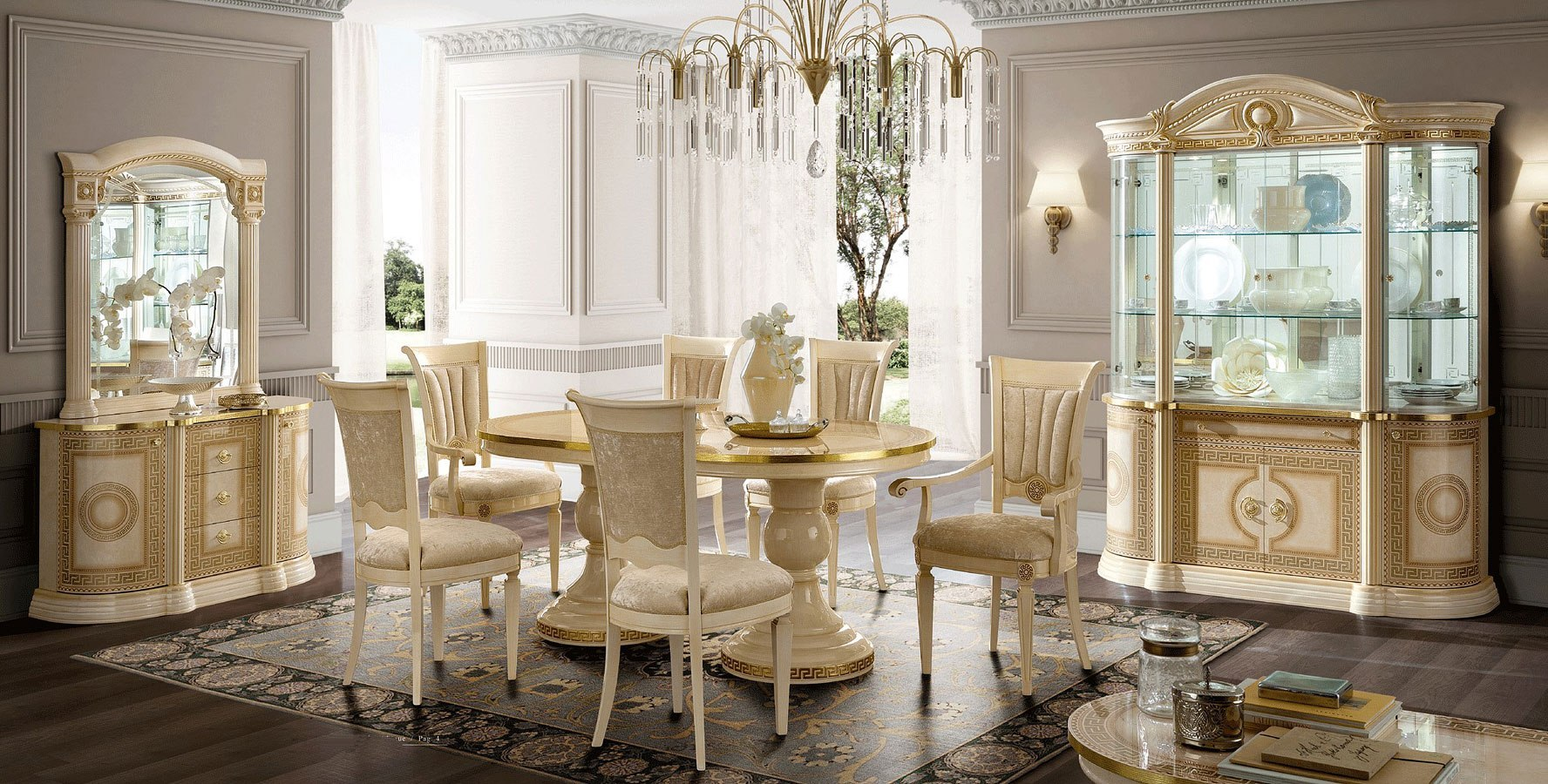 Aida Dining Room Set (Ivory and Gold)