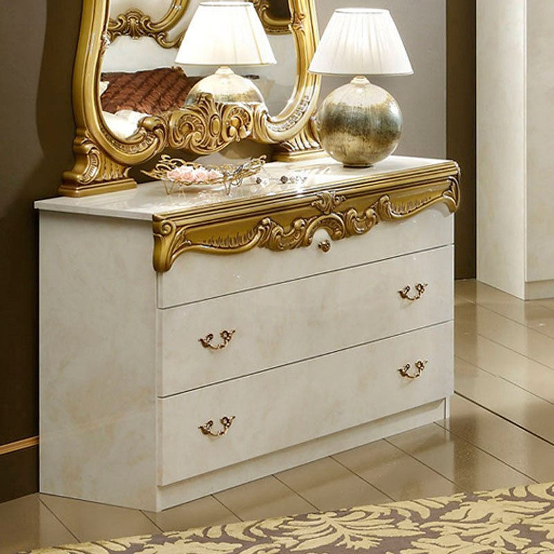 Barocco Single Dresser Ivory And Gold 1stopbedrooms