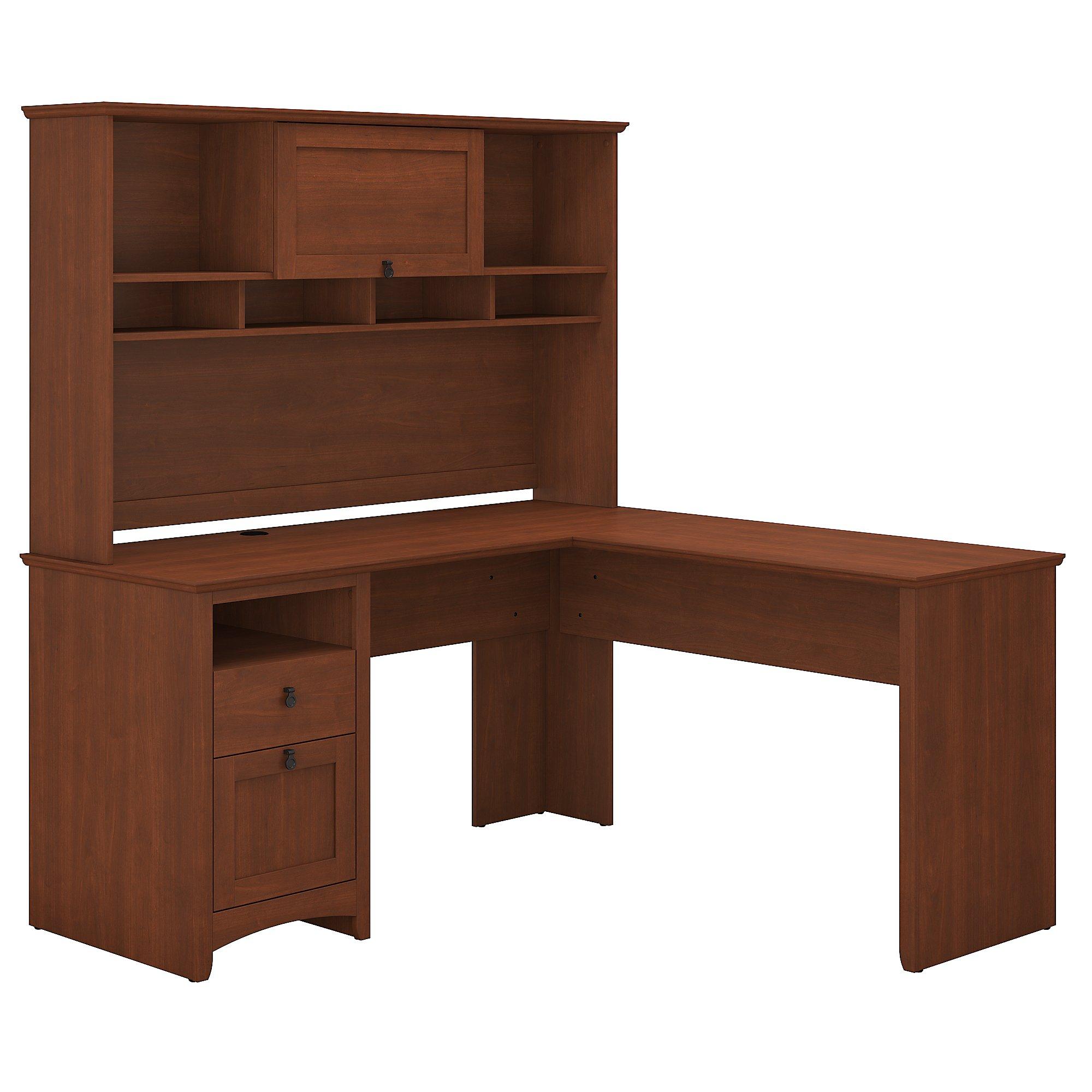 Beau Bush Furniture Buena Vista L Shaped Desk With Hutch In Serene CherryMedia  Image